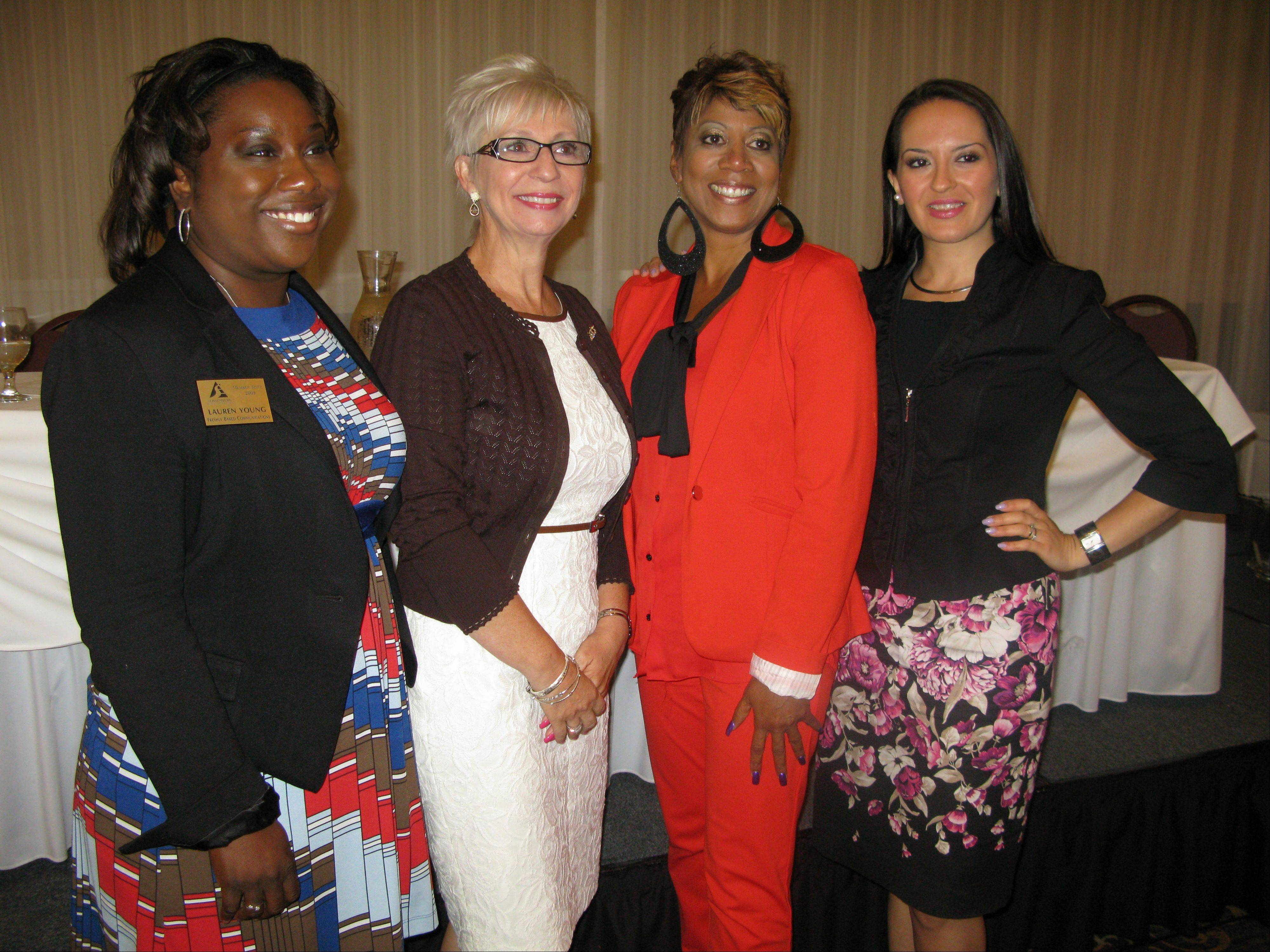 From left, women CEOs Lauren Young, Kathy Miller, DaVetta Collins, and Jacqueline Camacho-Ruiz shared tips Tuesday on how to become successful entrepreneurs at the Schaumburg Business Association�s Good Morning Schaumburg breakfast.
