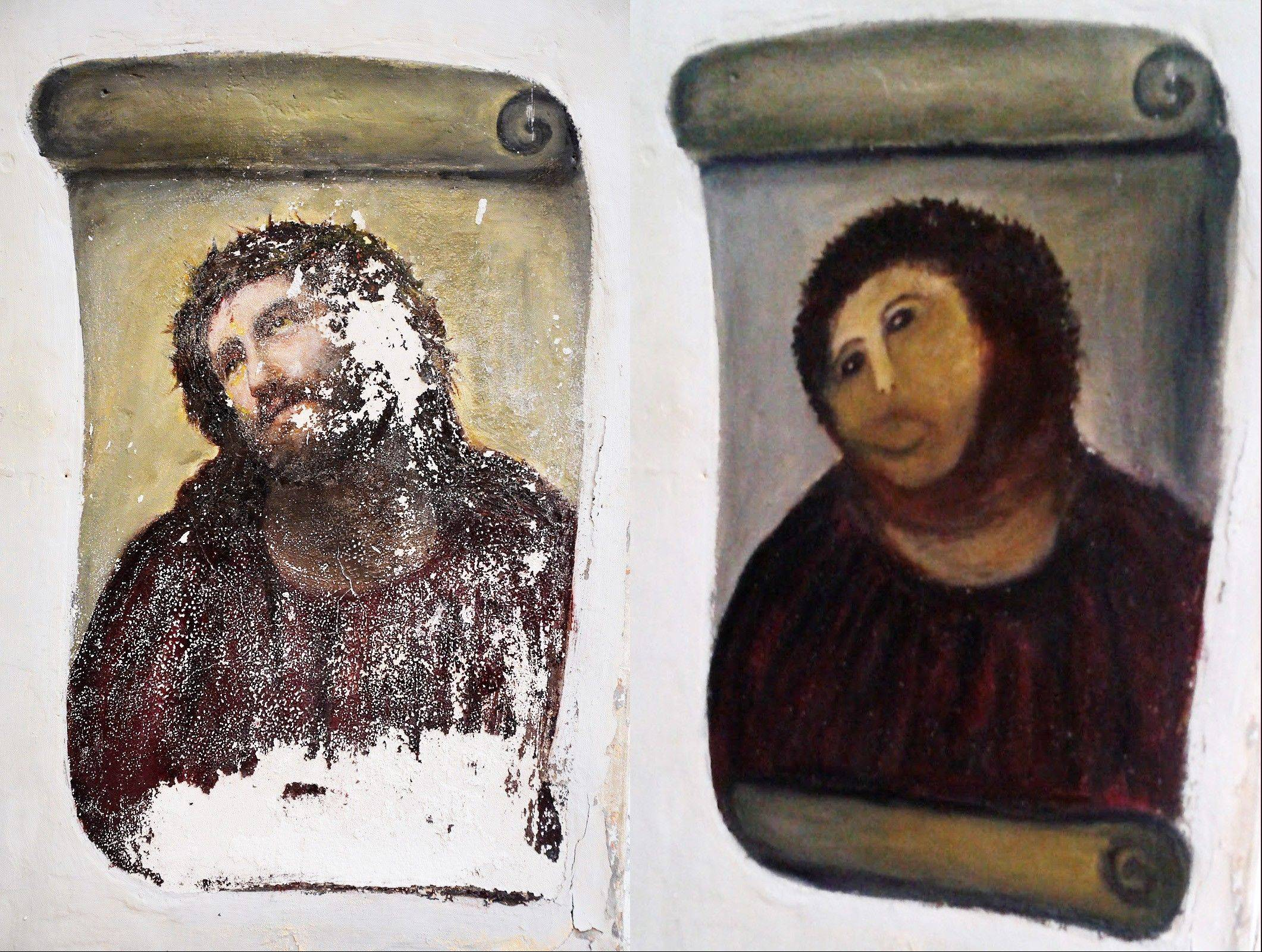 In this combination photo, the 20th century Ecce Homo-style fresco of Christ is seen at left, and the �restored� version is at right.