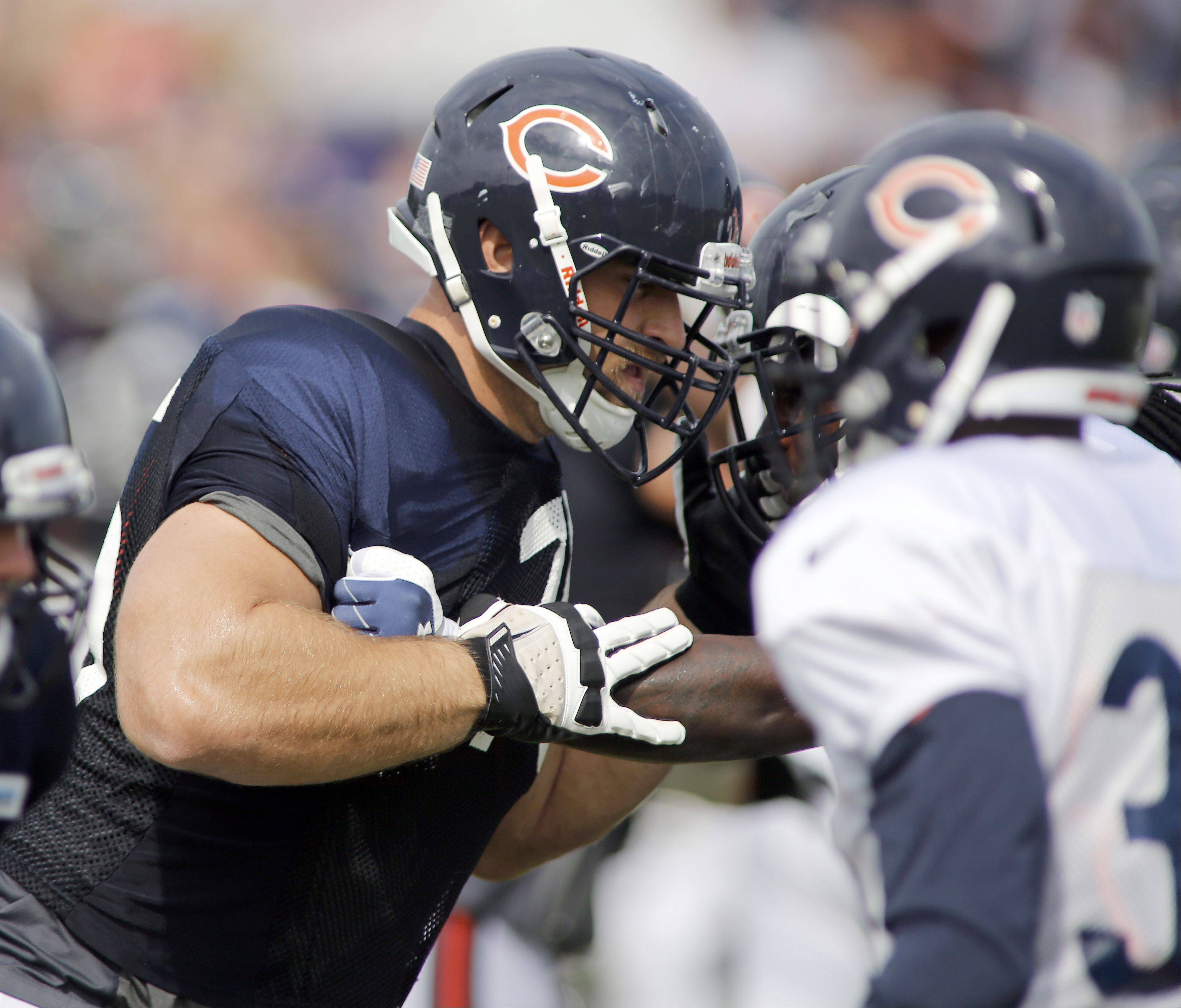 Bears offensive guard Kyle Long (75) during training camp on the campus of Olivet Nazarene University in Bourbonnais.