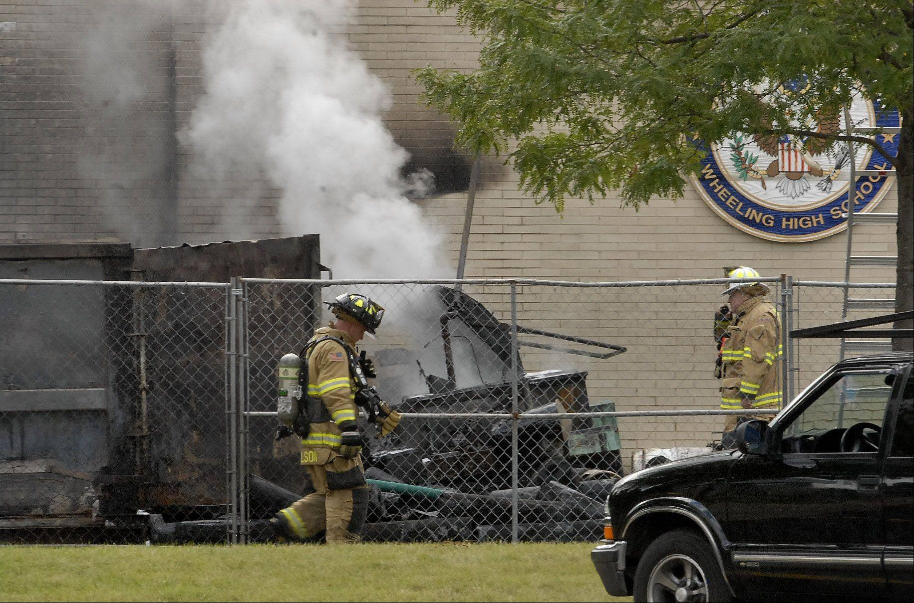 The fire at Wheeling High School never got inside the building, officials said.