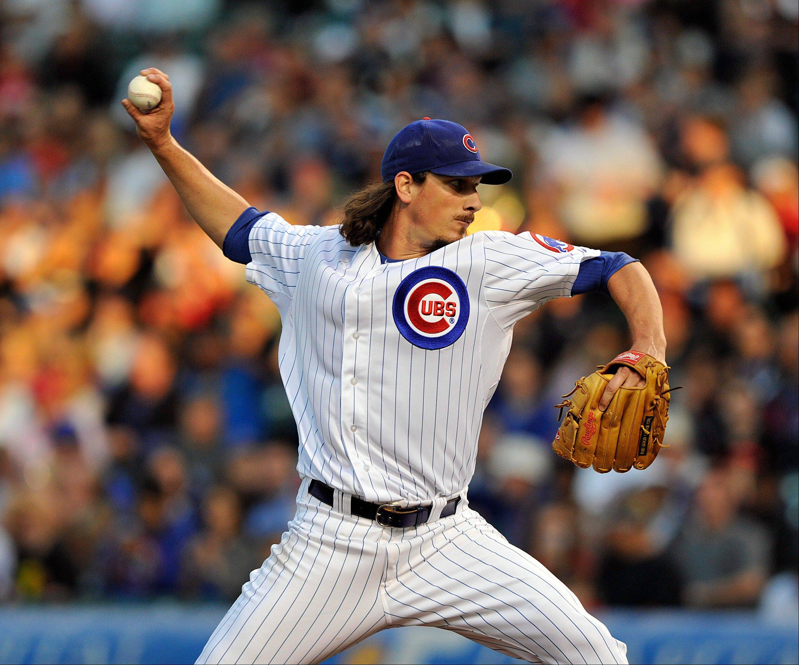 Cubs starter Jeff Samardzija worked 6 innings Tuesday night against the Reds, giving up 4 runs on 6 hits.