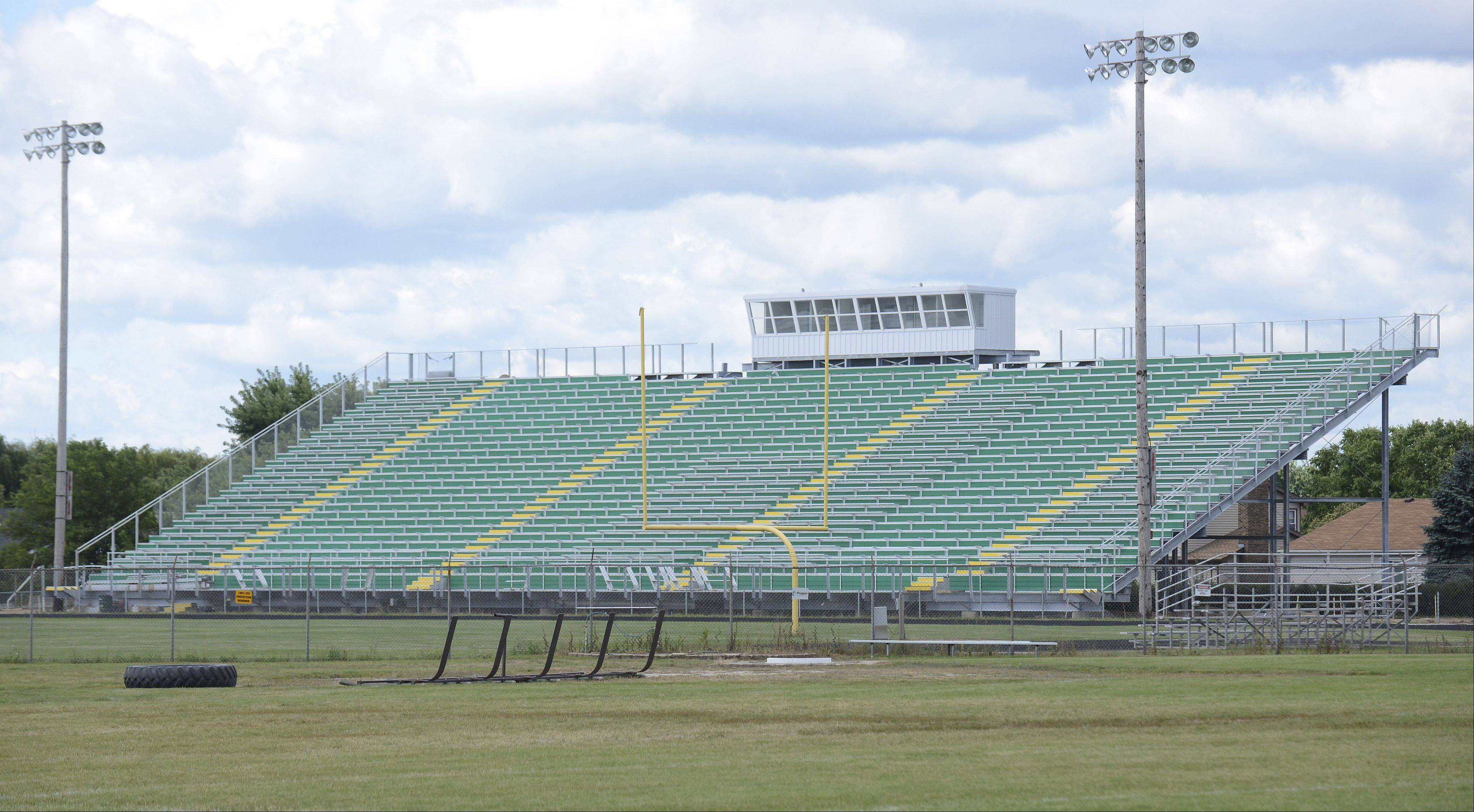 Crystal Lake South High School installed new bleachers on the west side of the varsity football field, and the city this week issued a stop-work order after a lawsuit was filed.