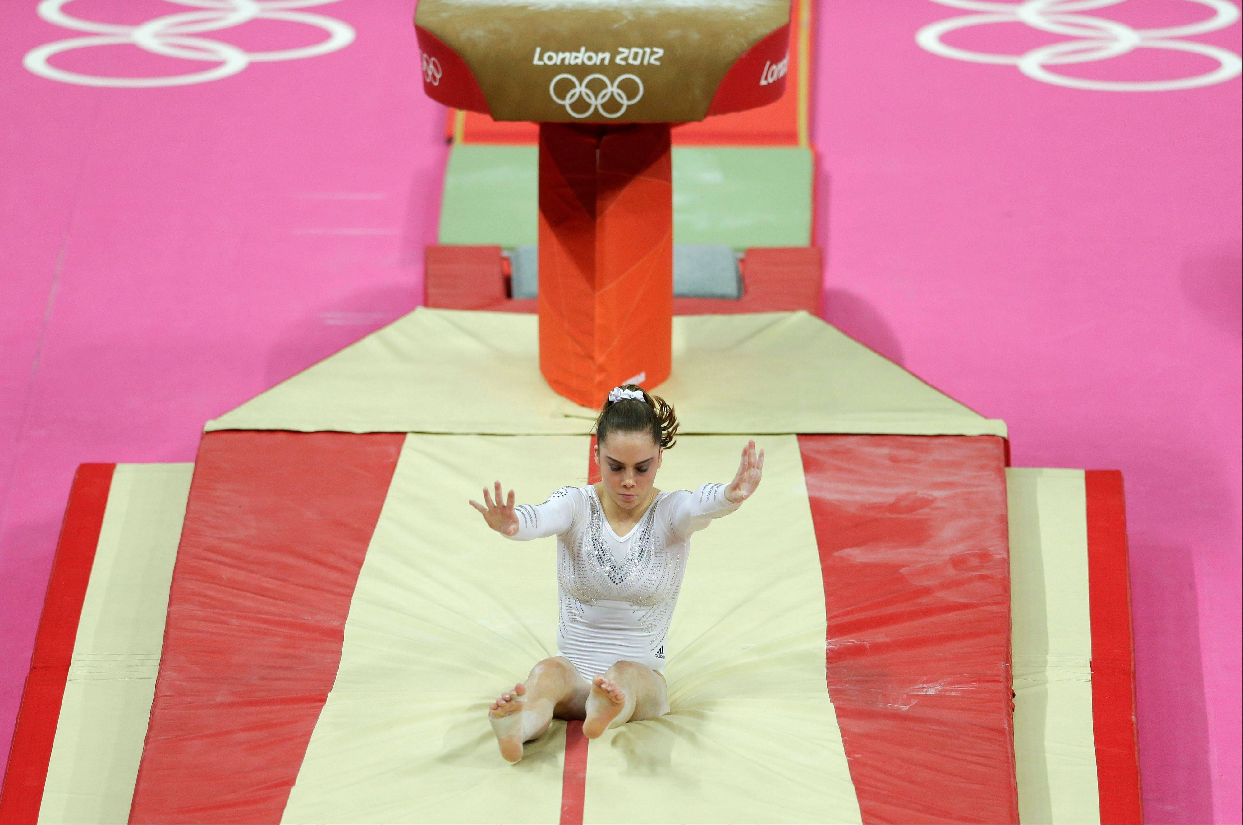 U.S. gymnast McKayla Maroney botches her dismount in the women's vault final at the 2012 Summer Olympics in London.