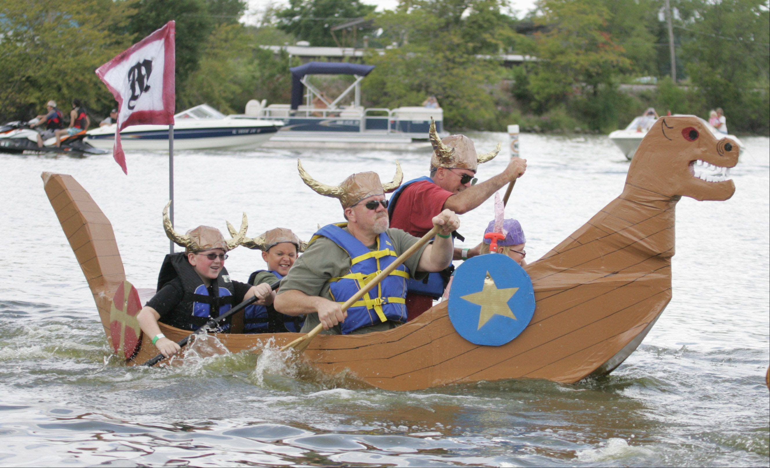 The 16th annual Cardboard Boat Race sponsored by the village of Fox Lake Parks and Recreation Department will begin at 8 a.m. Sunday, Aug. 18, at Lakefront Park, 71 Nippersink Blvd., Fox Lake. Contestants build boats made strictly of cardboard, duct tape and paint and race for awards, including fastest sinking boat.
