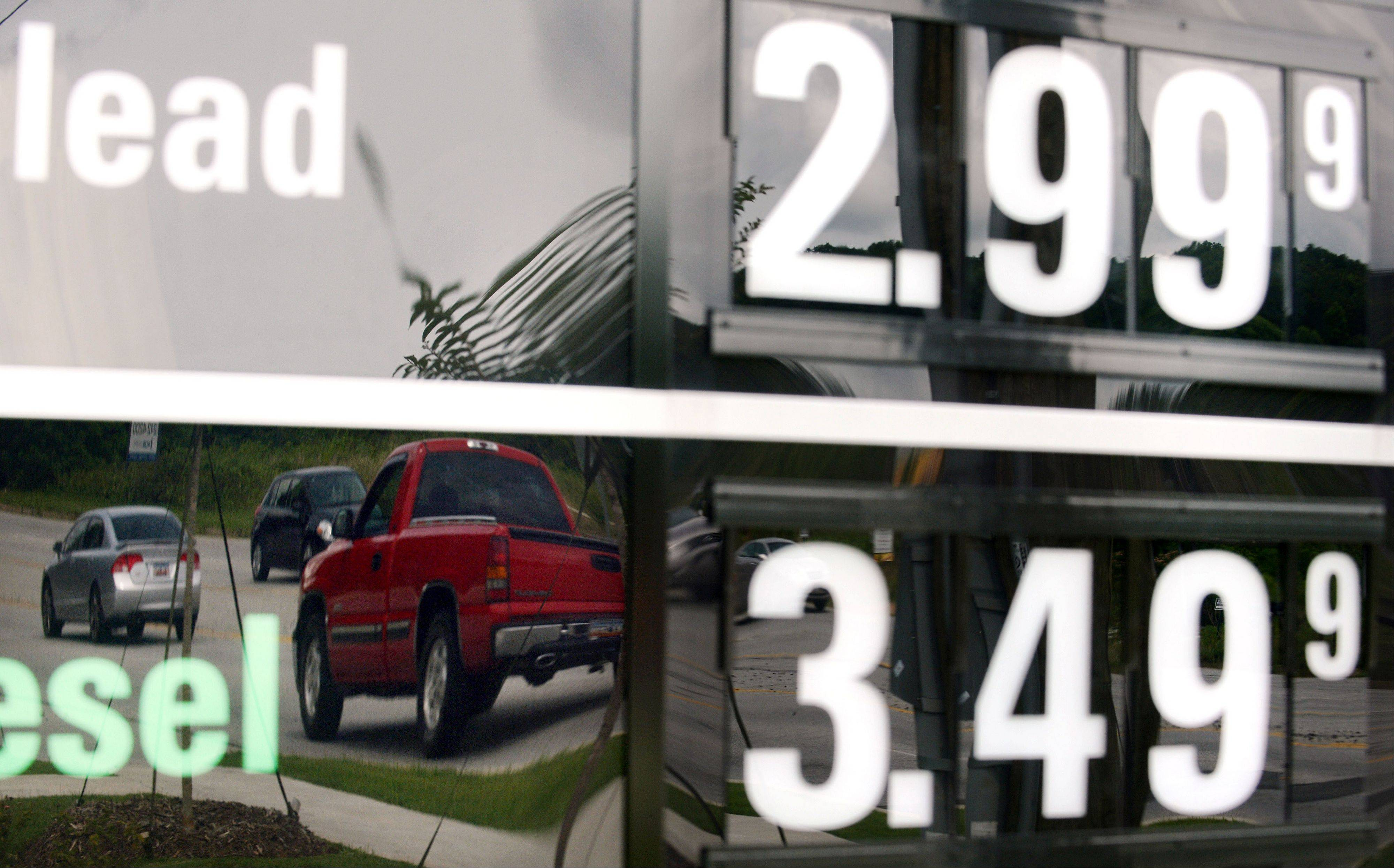 Vehicles are reflected in a sign advertising unleaded gas for $2.99 at a QuikTrip station at the corner of Woodruff Rd. and Verdae Blvd. in Greenville, S.C. U.S. consumer prices rose only slightly last month as gas increased more slowly. Overall, the figures showed that inflation remains mild.