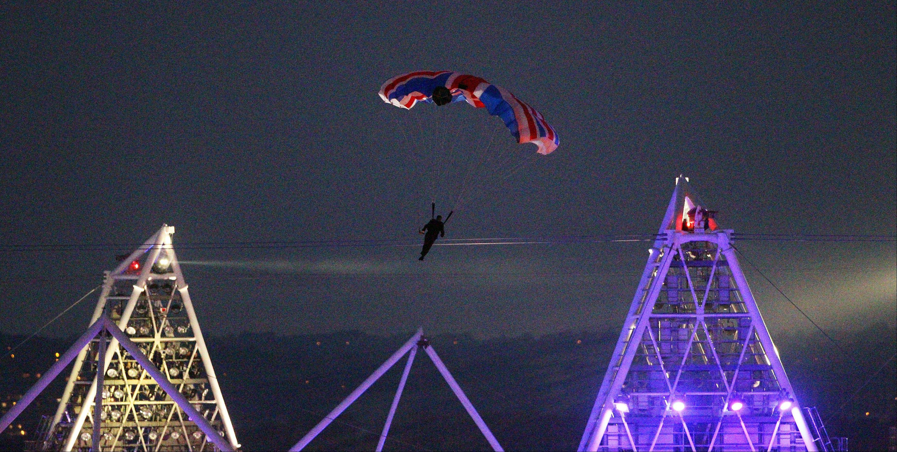 British stuntman Mark Sutton, who parachuted into the Olympic Stadium dressed as James Bond during the Olympic Games 2012 Opening Ceremony, died in an accident in the Swiss Alps while flying a special wing suit.