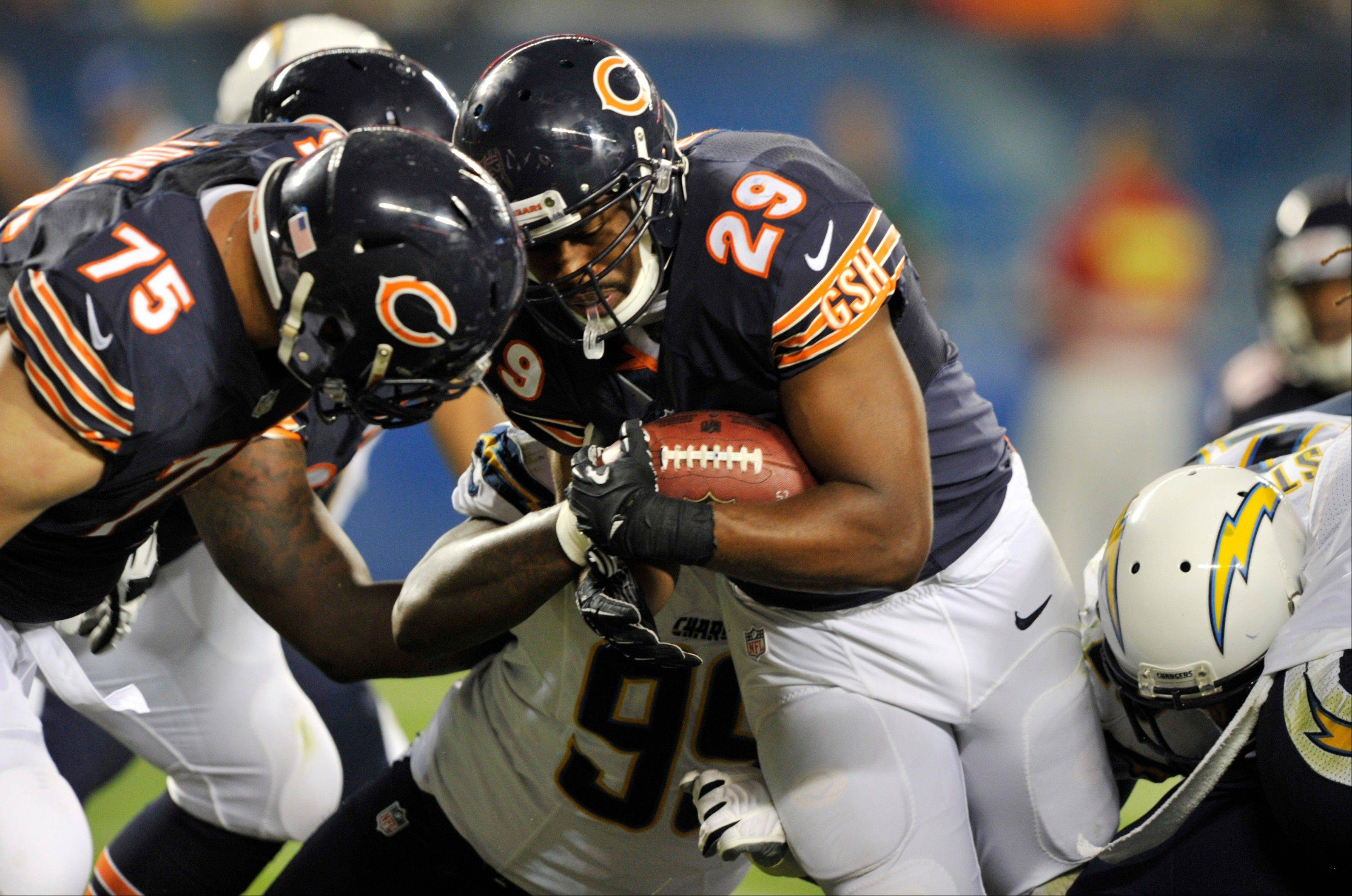 Bears running back Michael Bush (29) runs for a touchdown during the second half of the preseason NFL game against the San Diego Chargers Thursday in Chicago. (AP Photo/Jim Prisching)