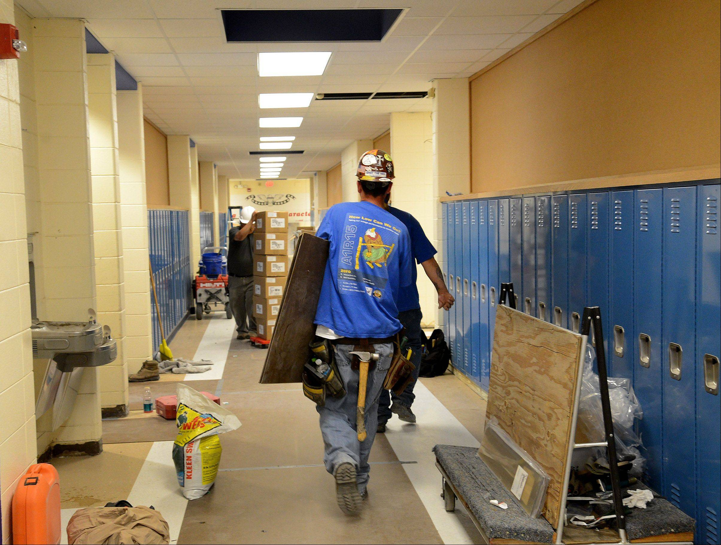 New lockers and flooring are part of a $3.2 million building renovation at Oak Grove School in Green Oaks.