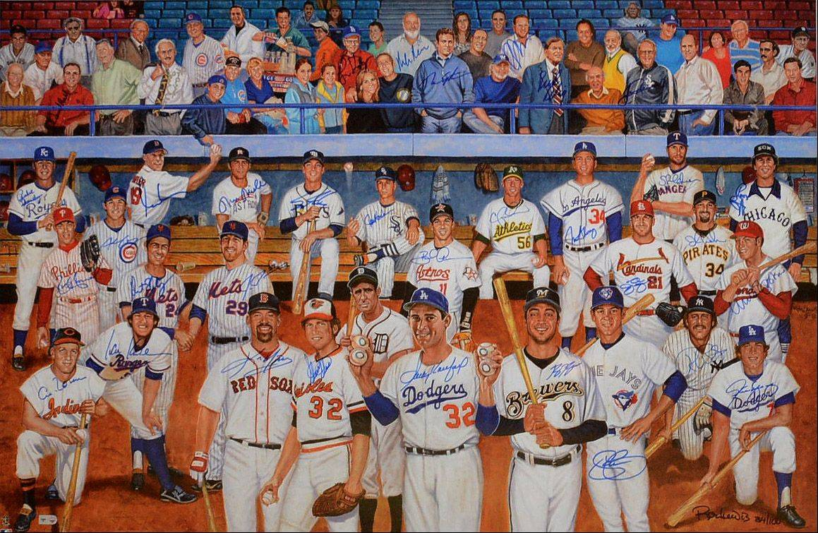 "The autographed painting of Jewish Major League ballplayers on display Wednesday at ""A Night of Jewish Baseball"" at Congregation Beth Judea in Long Grove."
