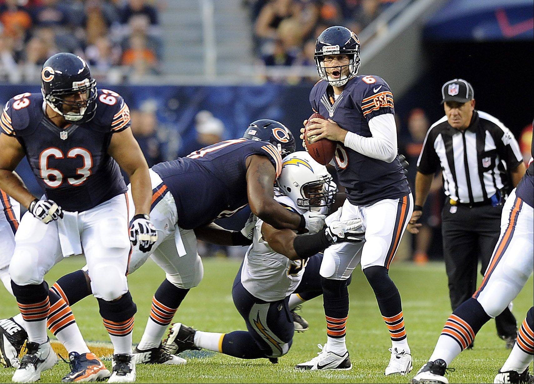 Chicago Bears quarterback Jay Cutler throws a interception on this play in the first half.