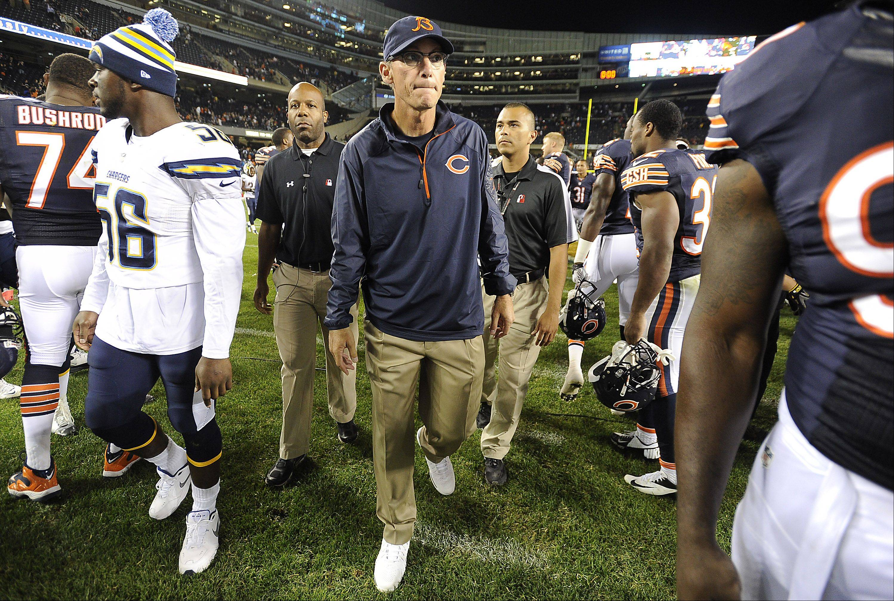 Chicago Bears head coach Marc Trestman walks off the field after the game.
