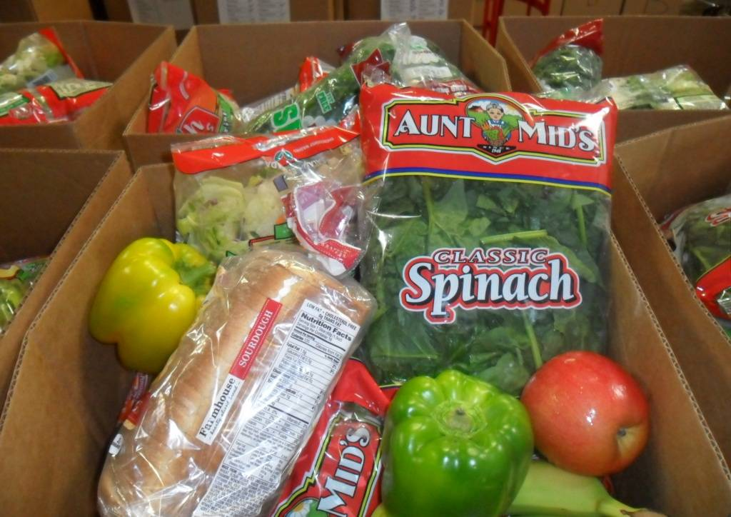 One of the food packages of nutritious groceries for the 122 seniors enrolled in HSP's Senior Citizen Project.