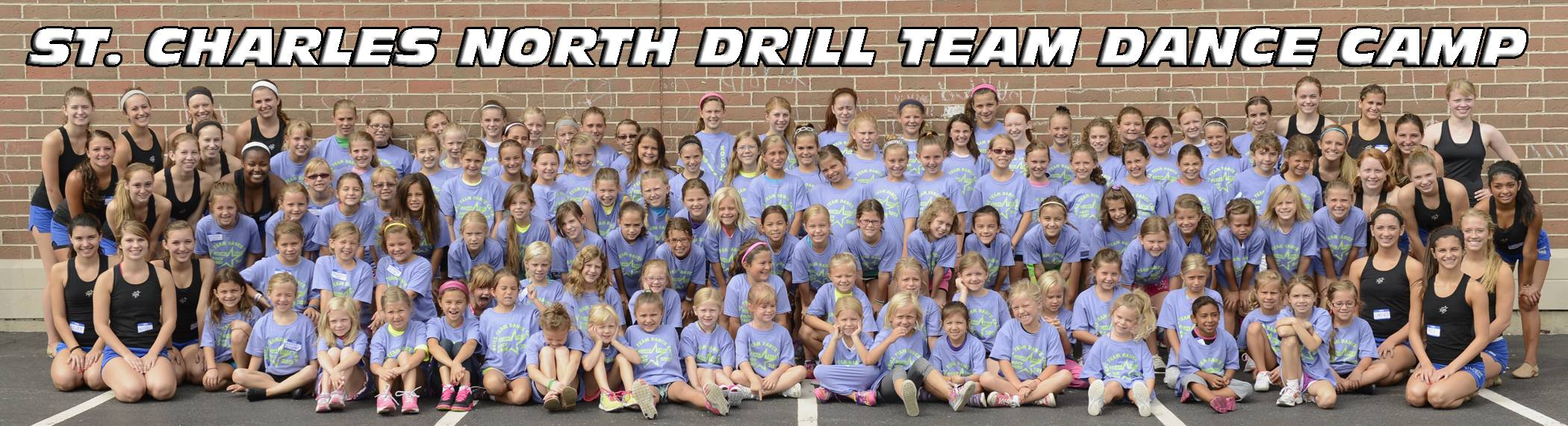 North Star Drill Team members with the campers.