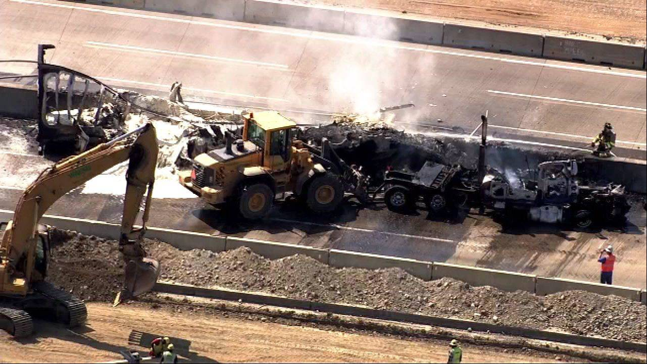 COURTESY OF ABC 7 A multivehicle crash and resulting fire Friday afternoon on the Tri-State Tollway near Wadsworth caused a huge traffic backup and forced all lanes to be shut down.