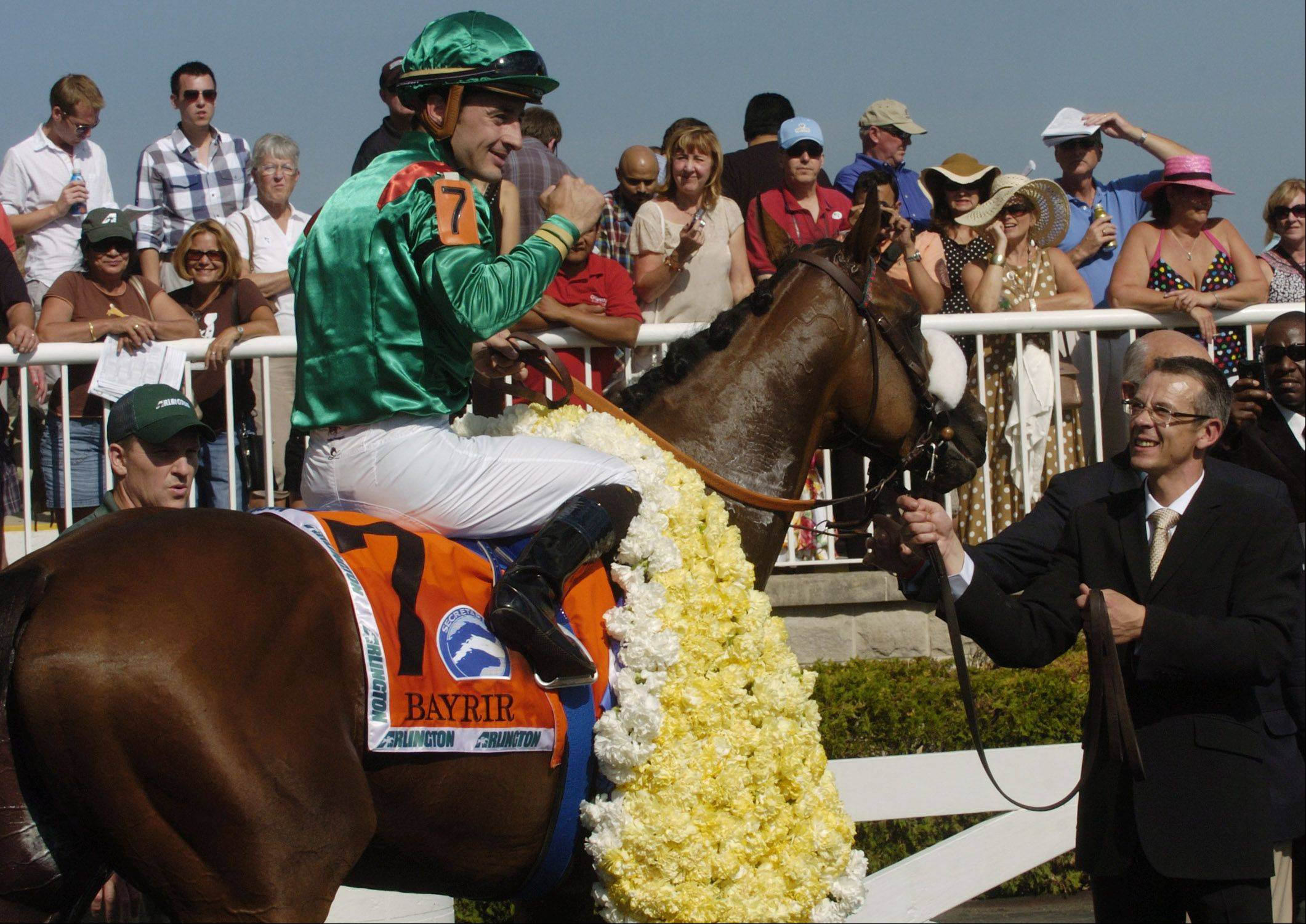 A foreign entry, Bayrir (France) with jockey Christophe Lemaire, captured the 2012 Secretariat at Arlington International Racecourse. This year the field included 10 American horses.