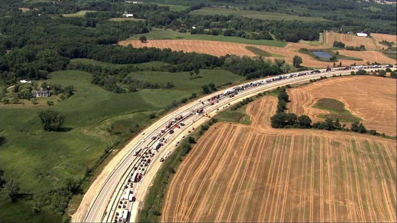 COURTESY OF ABC 7Traffic was backed up on the Tri-State Tollway Friday afternoon following a multivehicle crash.