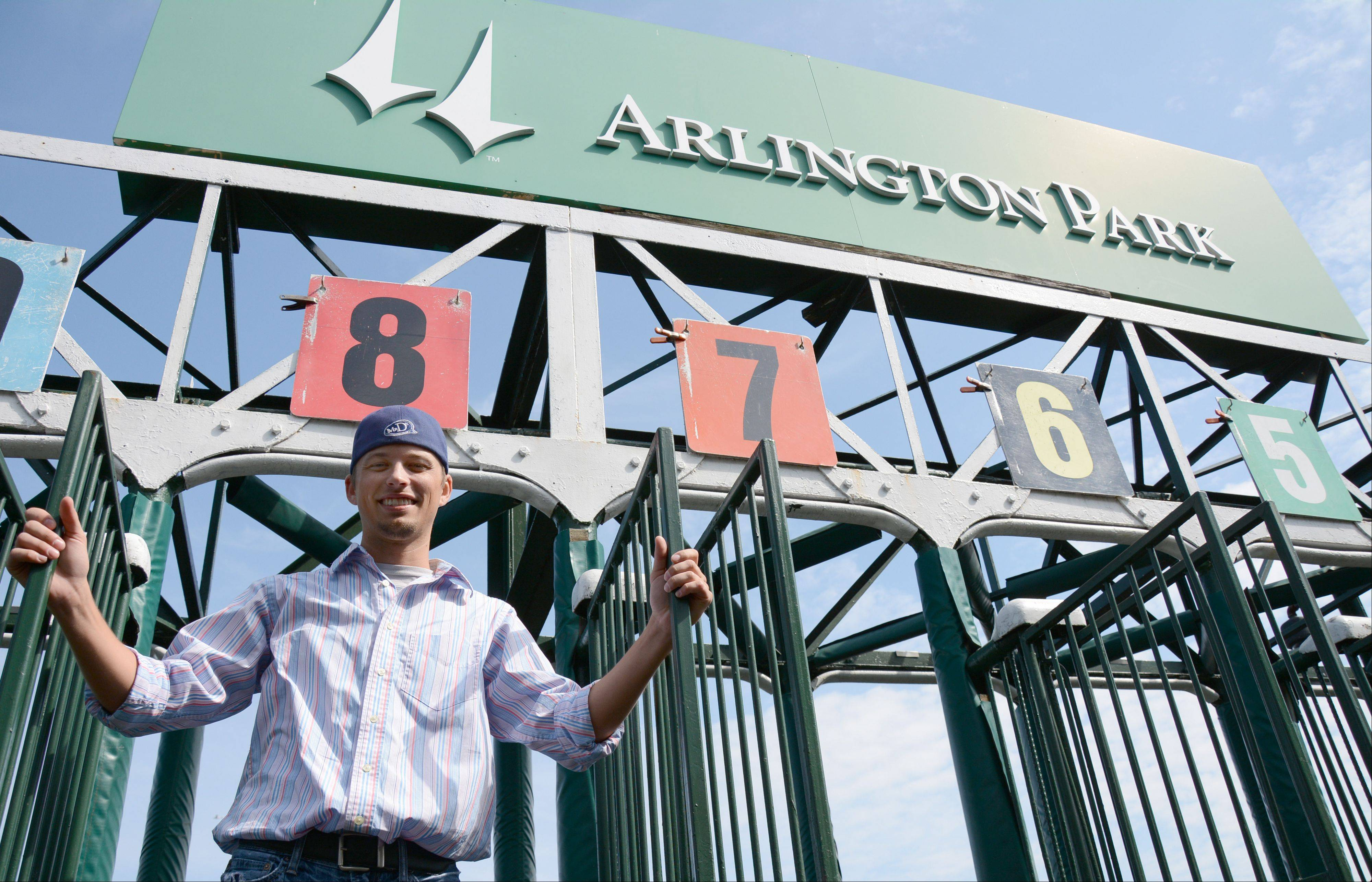 Brandon Meier recently switched from riding race horses as a jockey to working the starting gate at Arlington International Racecourse. Meier, a Wheaton native who now lives in Wheeling, is the youngest person working the starting gate.