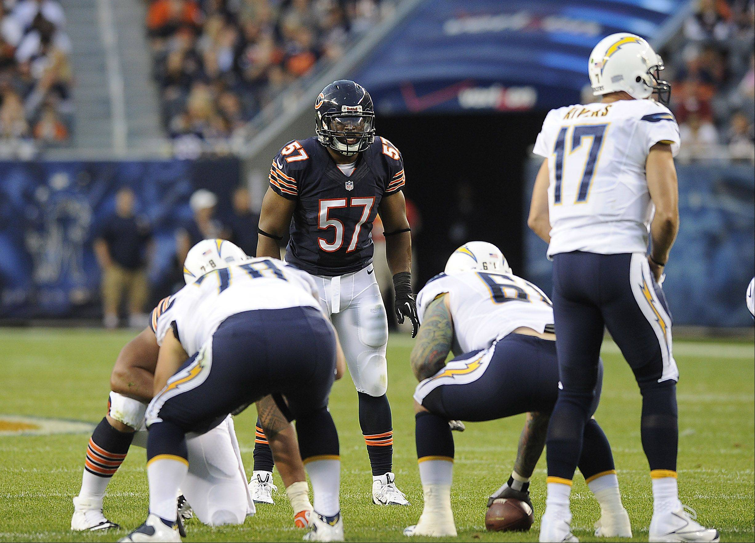 Bears Jonathan Bostic on defense against the Chargers in the first preseason home game in Chicago at Soldier Field.