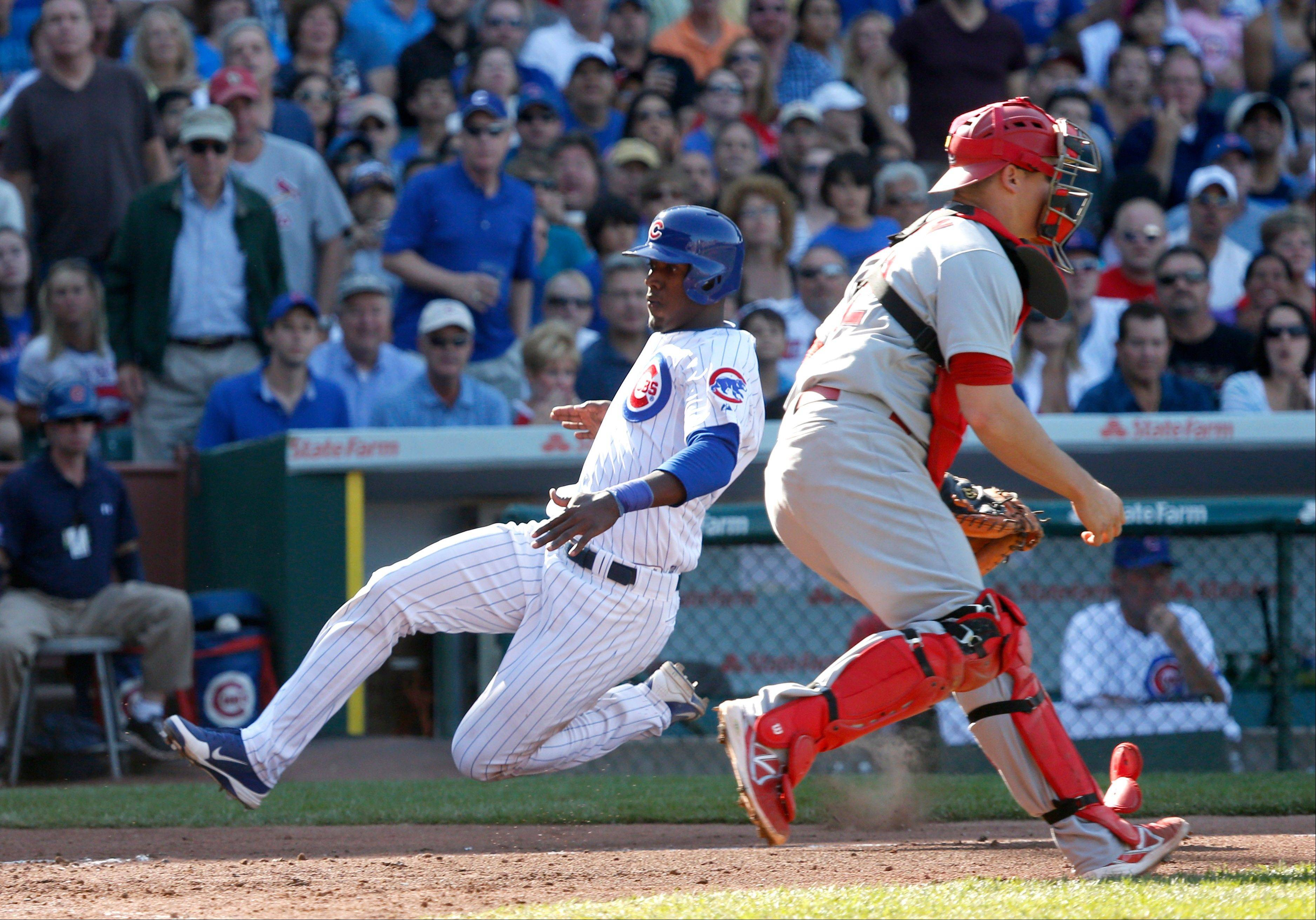Chicago Cubs' Junior Lake scores past St. Louis Cardinals catcher Rob Johnson on a sacrifice fly by Nate Schierholtz during the fifth inning of a baseball game Friday, Aug. 16, 2013, in Chicago.