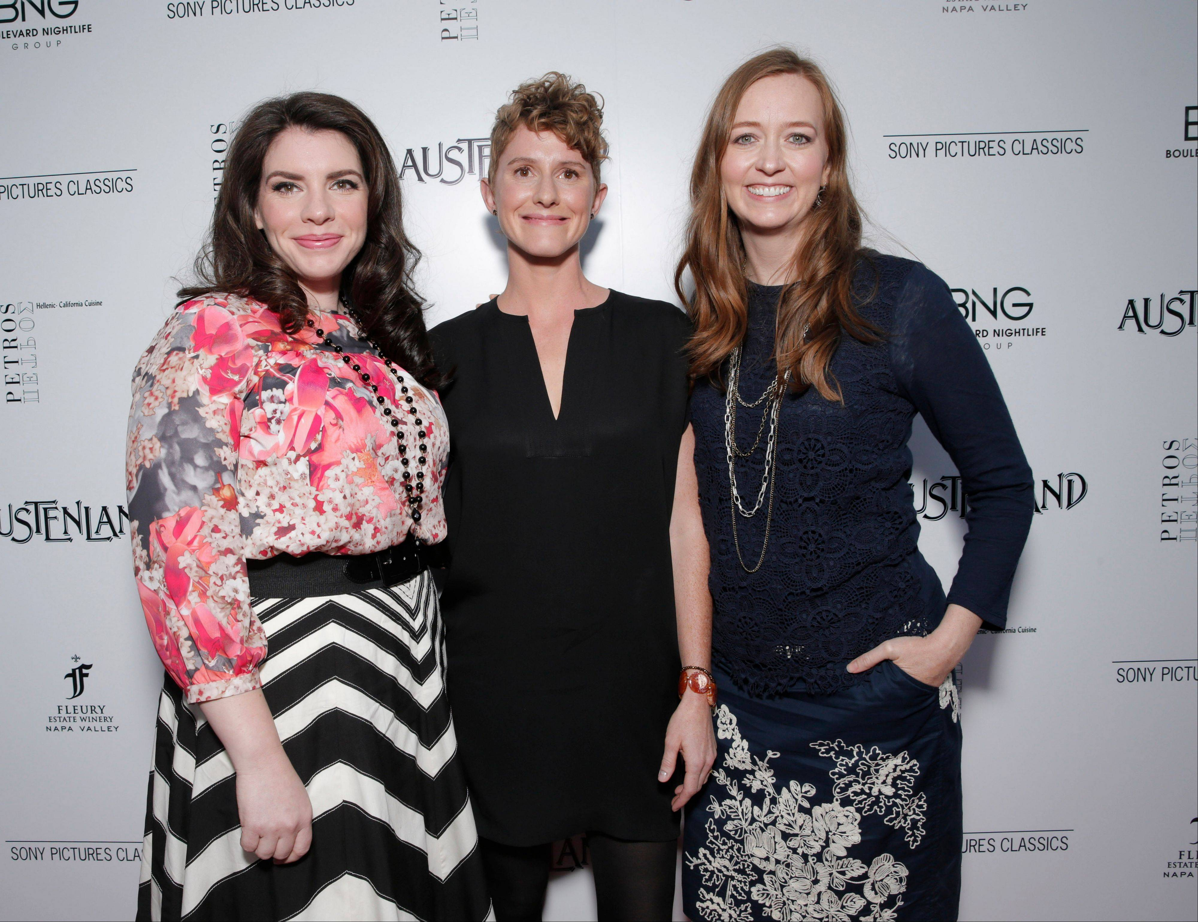 Executive producer Stephenie Meyer, left, director Jerusha Hess and writer Shannon Hale at the Los Angeles premiere for Sony Pictures Classics� �Austenland.� Meyer says she enjoyed the collaboration and socialization she experienced while producing the movie.