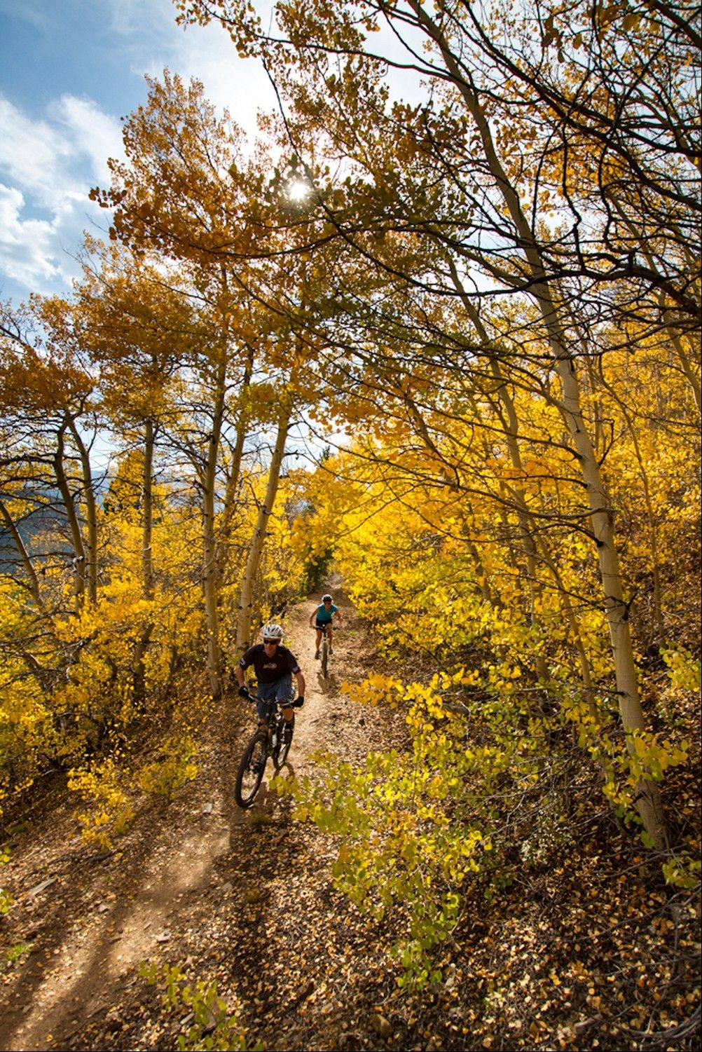 Bikers hit a trail in Breckenridge, Colo.