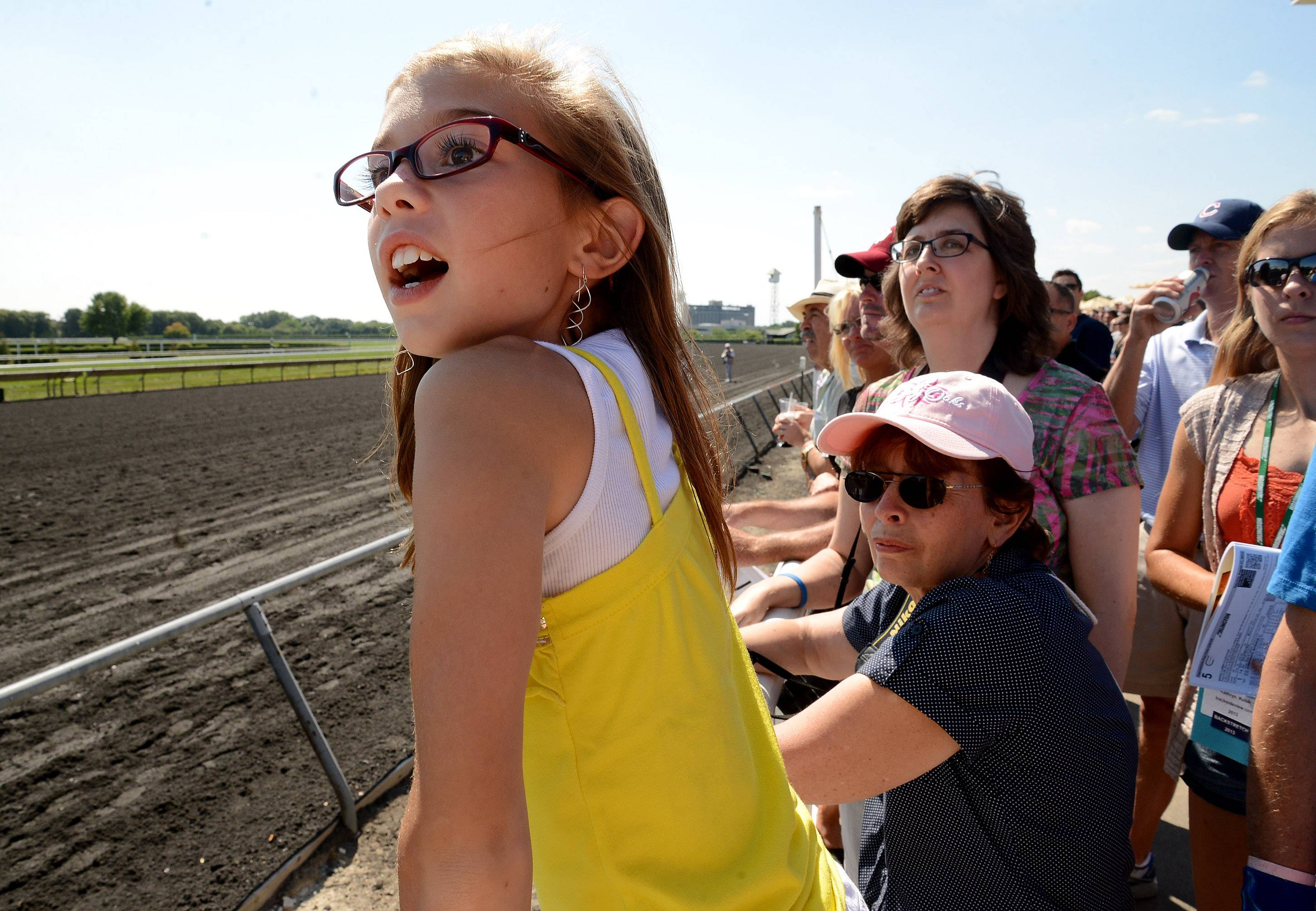 Joanna Brown of Belvidere watches for her horse during the Arlington International Festival of Racing at Arlington International Racecourse.