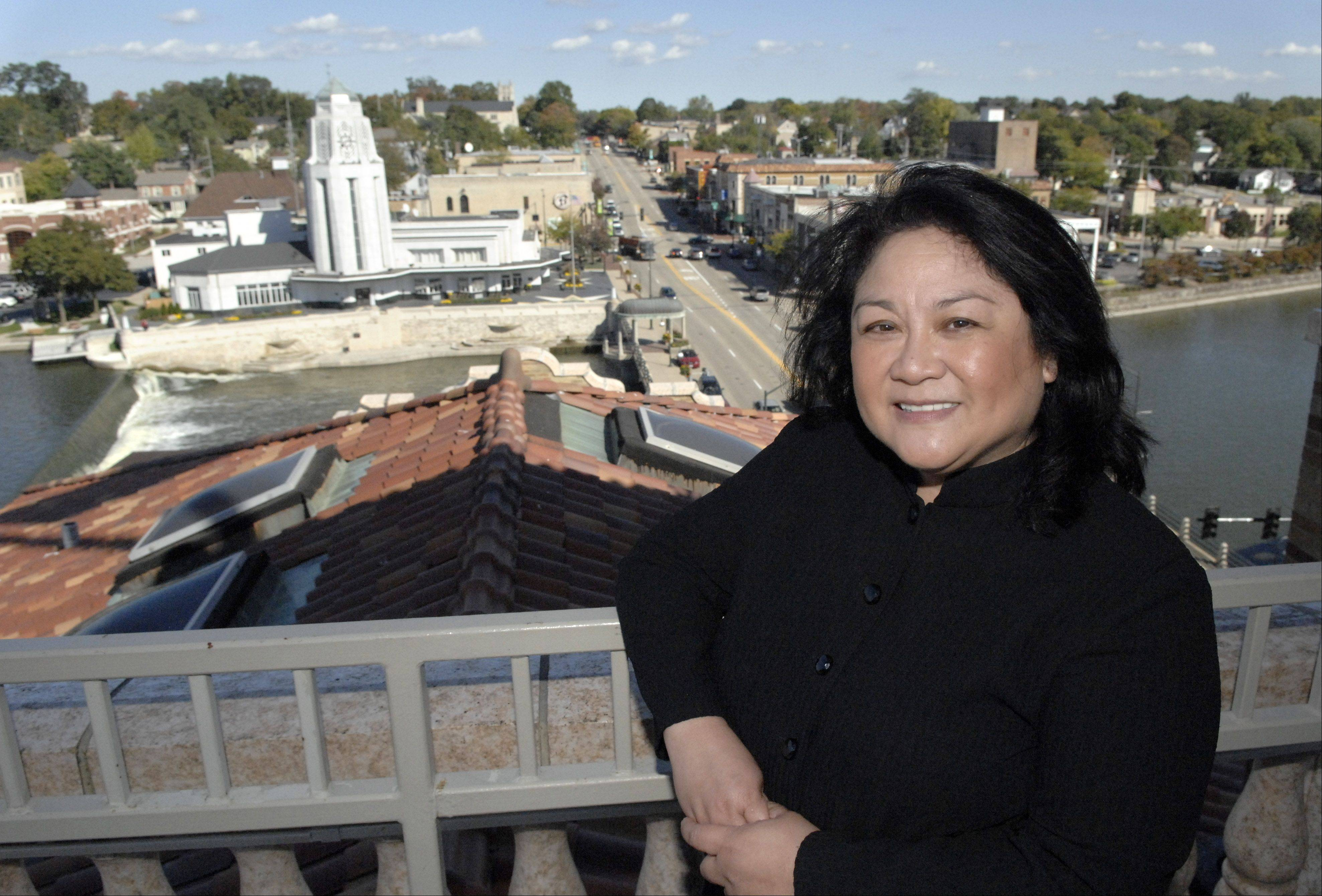Rowena Salas, co-owner of the Hotel Baker in St. Charles, is shown in 2010 on the Penthouse deck.