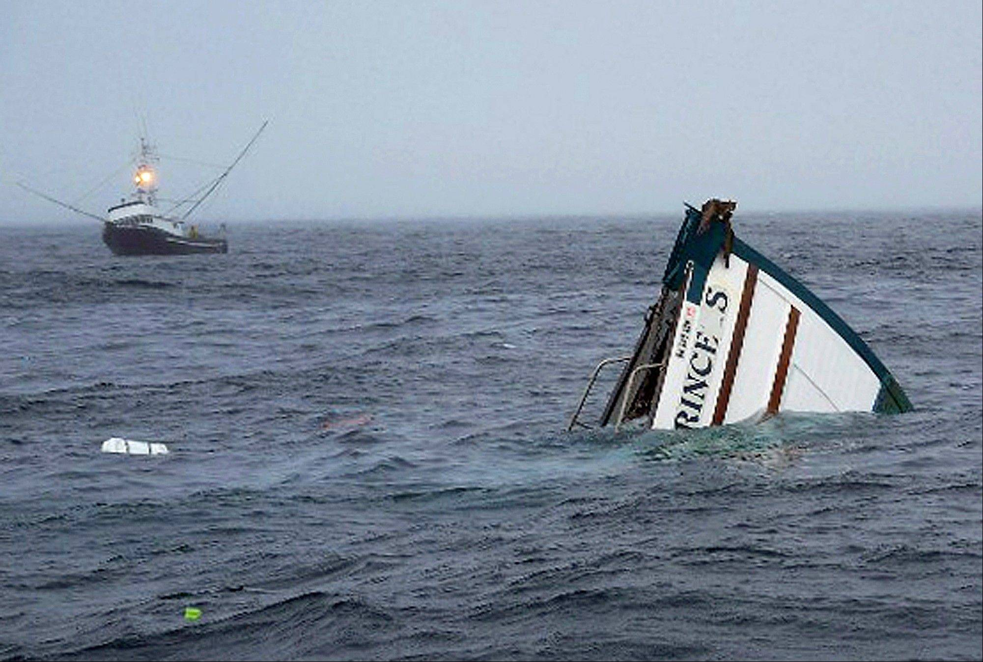In this August 5, 2013 photo released by Mark Schneider, a cat named Jasper sits on top of a sinking tuna boat off the Oregon coast about 80 miles from Newport, Ore. Mark and Cynthia Schneider and their two cats, Jasper and Topaz, survived after the boat sank following an engine explosion. Both cats eventually swam through the ocean to safety on the rescue boat.