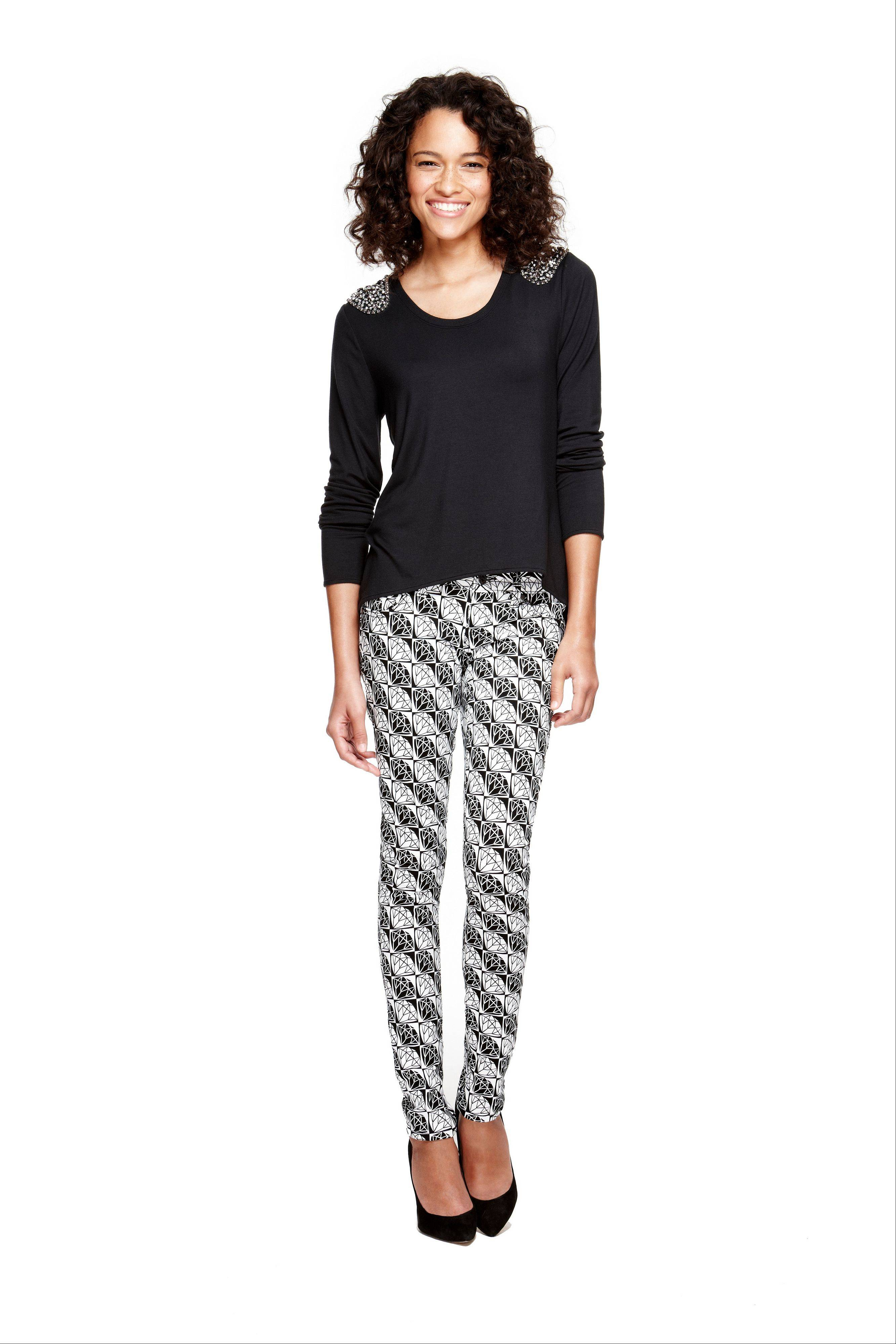 For fall, try a relaxed track printed pant. This is from the youth line called L�Amour.