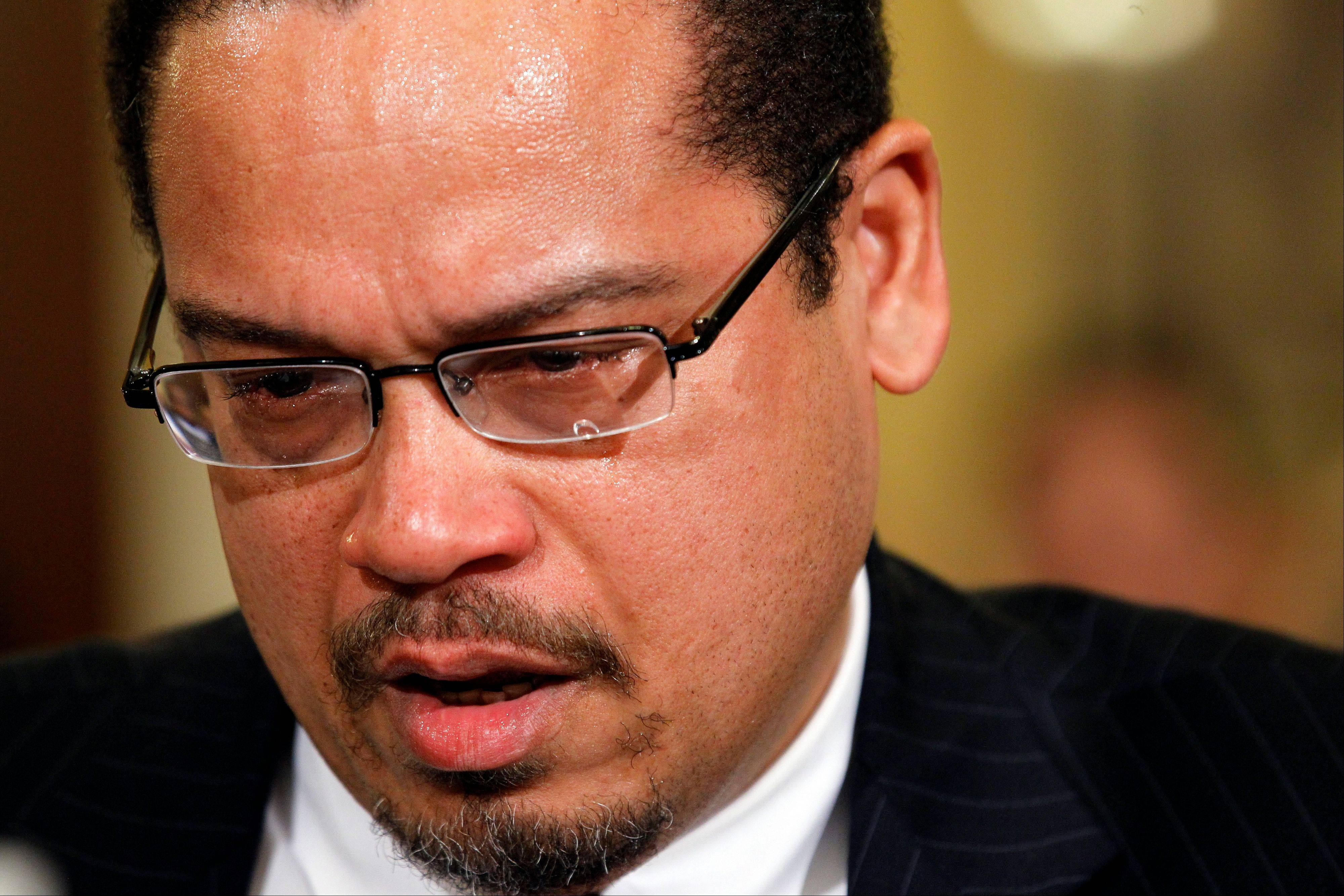"In this photo taken March 10, 2011, Rep. Keith Ellison, the first Muslim elected to Congress, becomes emotional as he testifies before the House Homeland Security Committee on the extent of the radicalization of American Muslims on Capitol Hill in Washington. Democratic leaders have generally supported President Barack Obama's stance on Egypt. But on Sunday, Ellison said, ""I would cut off aid but engage in intense diplomacy in Egypt and in the region to try to say, 'Look, we will restore aid when you stop the bloodshed in the street and set up a path towards democracy that you were on before.'"""