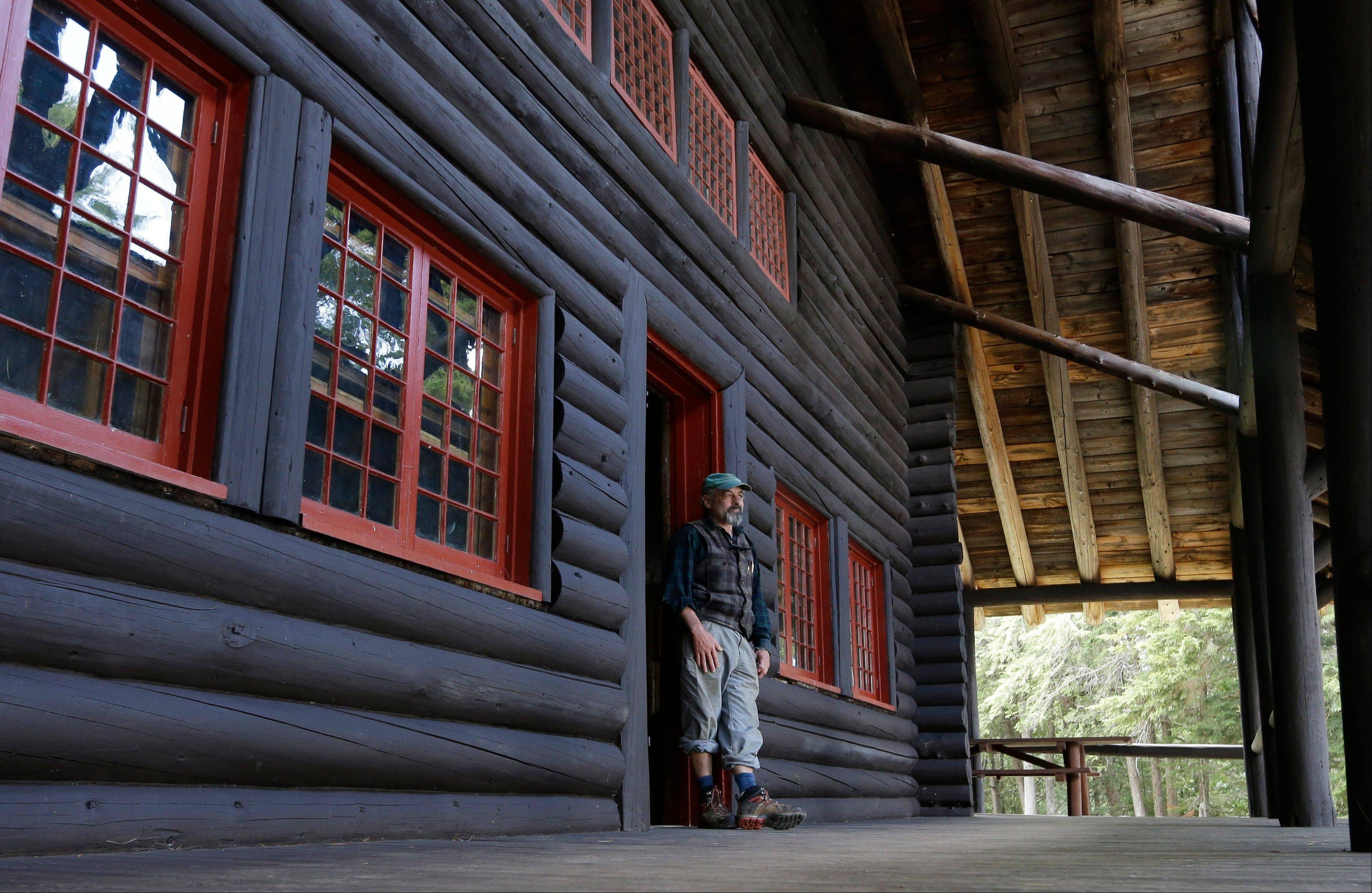 Master carpenter Michael Frenette in the main lodge at Camp Santanoni, an Adirondack great camp that is being restored, in Newcomb, N.Y. Santanoni was one of the earliest great camps built by wealthy families with names like Rockefeller and Vanderbilt beginning in the late 19th century.