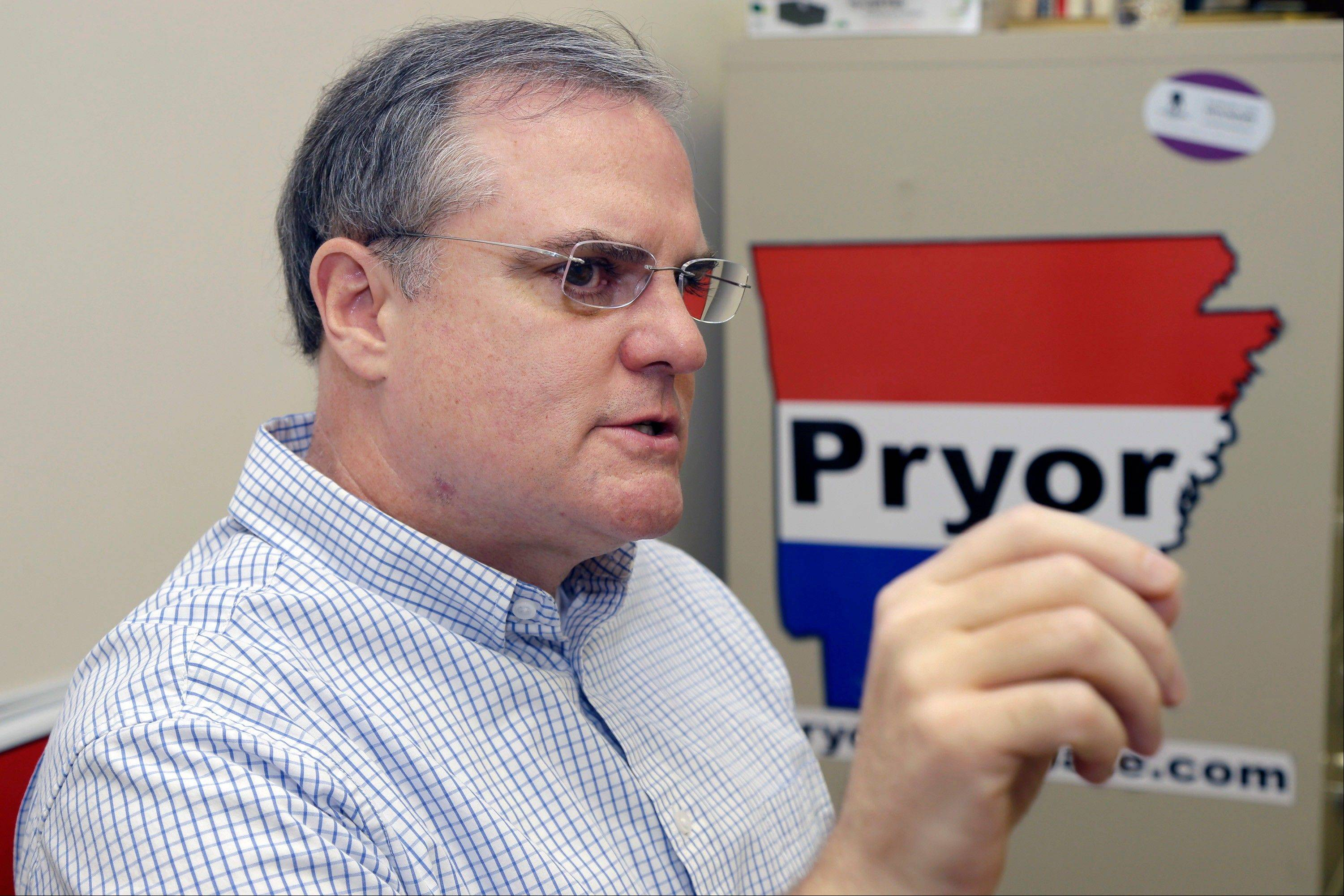 In this file photo taken Aug. 2, 2013, U.S. Sen. Mark Pryor is interviewed at his campaign office in Little Rock, Ark. Pryor is part of a string of Senate incumbents and challengers with long family ties who could help determine whether Democrats maintain their control of the Senate in the 2014 elections.