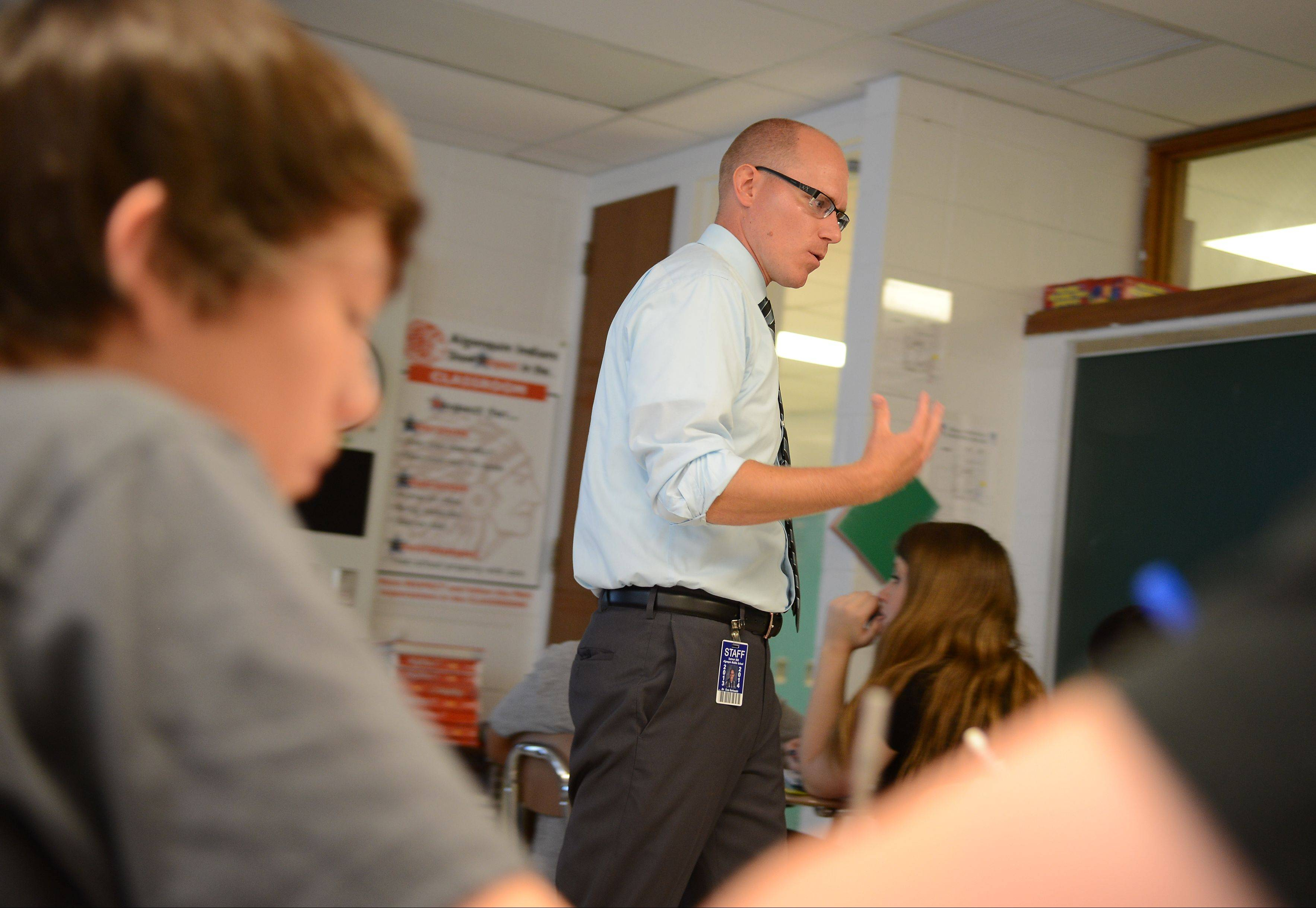 Algonquin Middle School math teacher Evan Borkowski helps students think about how math applies to real-world situations. That shift is a key to teaching based on the new Common Core State Standards.