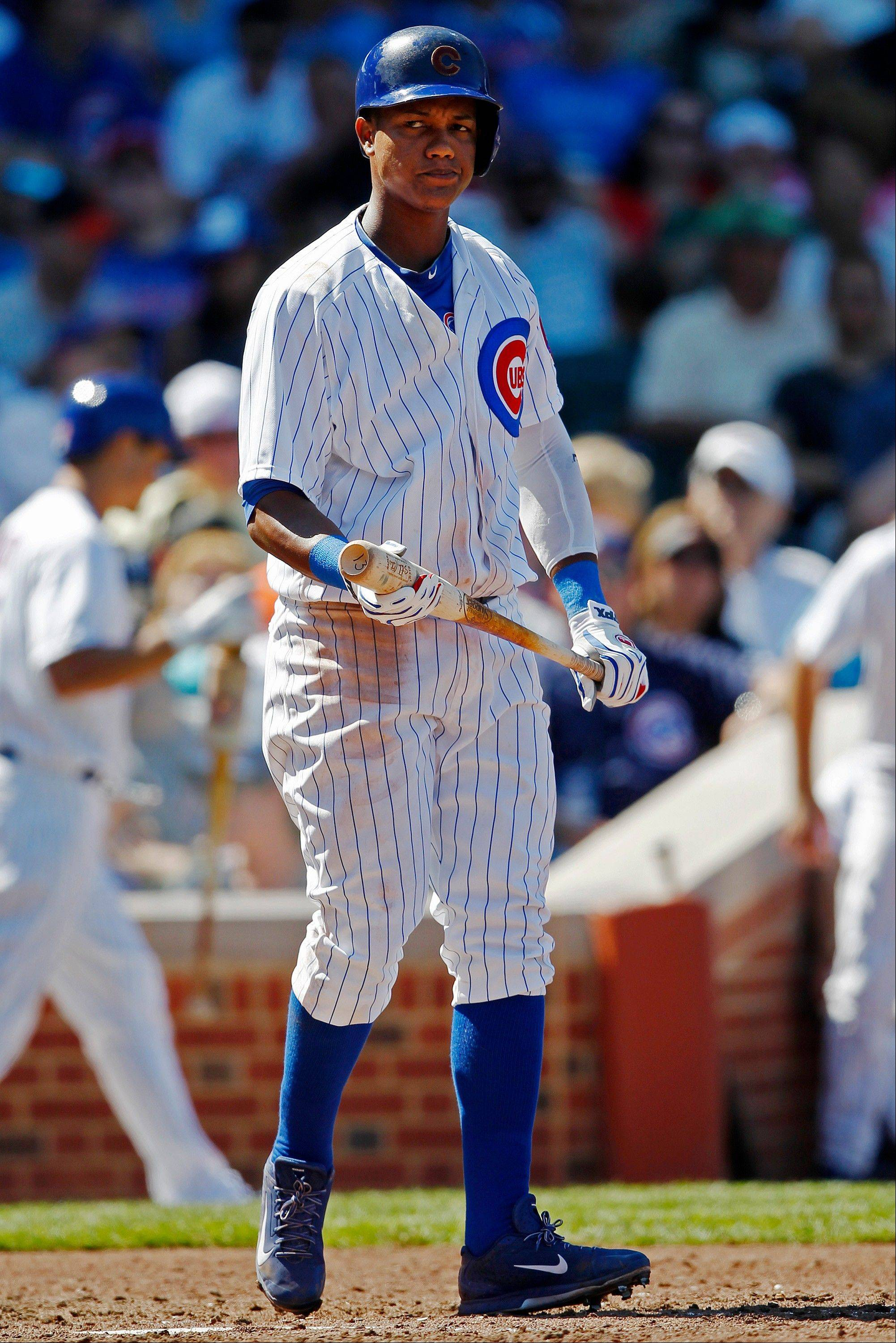 Cubs shortstop Starlin Castro, here reacting after striking out Sunday in the fifth inning, thanked manager Dale Sveum for putting him back the lineup the day after being taken out for a mental miscue.