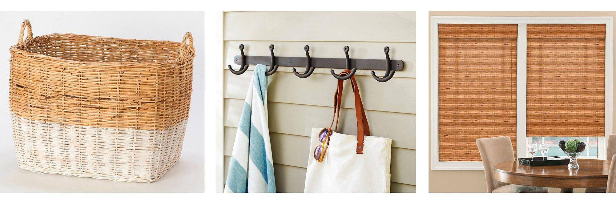 Tame sand and clutter with, from left,Terrain�s color-block wicker basket and Pottery Barn�s anchor row of hooks; window coverings can keep furniture and art from being sunbleached.