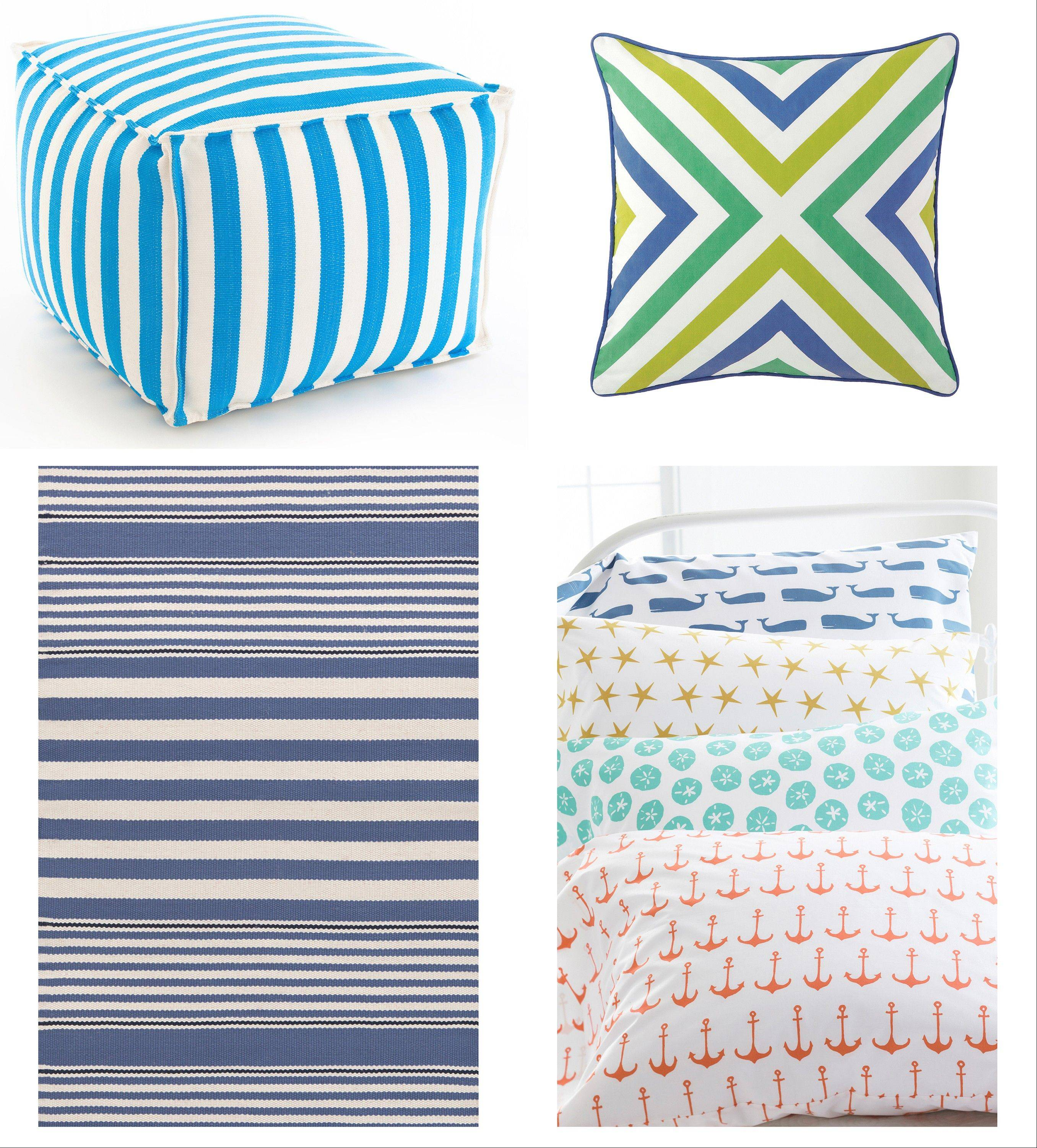 Use indoor-outdoor fabric in surprising places with the Fresh American Trimaran striped pouf in turquoise, top left, or Company C's chevron Julep pillow, top right. Indoor-outdoor rugs, such as the Beckham striped denim rug, bottom left, are crucial for beach houses; Garnet Hill's mini-print bedding, bottom right, features whimsical sea-themed prints.