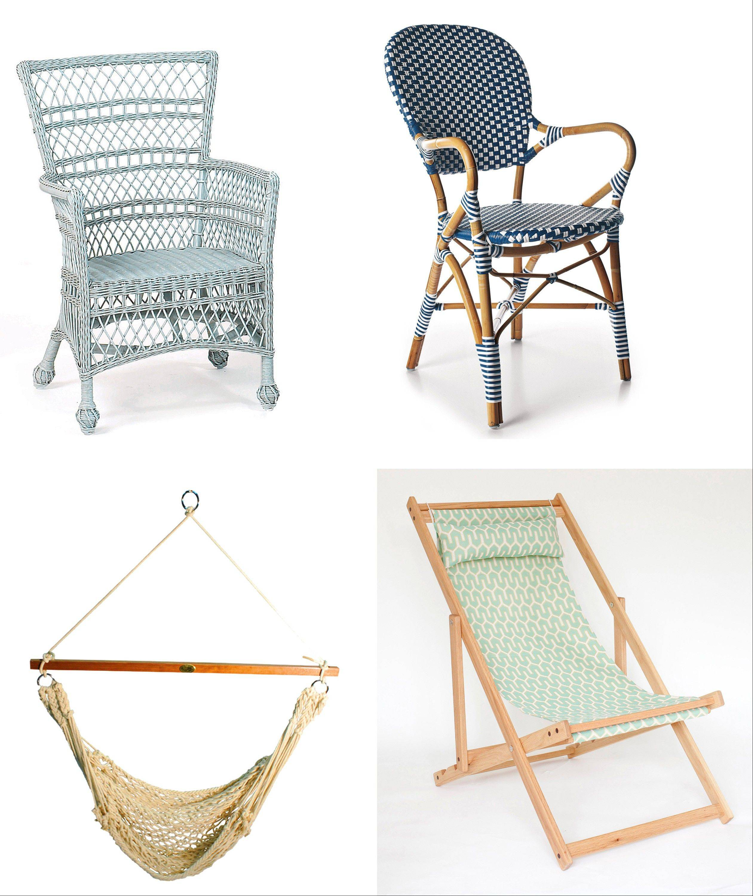 Today's twist on wicker and rattan is to buy it in colors, like Mainly Baskets' veranda chair, top left, and the Navy Riviera chair from Serena & Lily, top right; for outdoor seating, try the Single Point rope hammock chair, bottom left, and the Tybee deck chair from Gallant & Jones, bottom right.