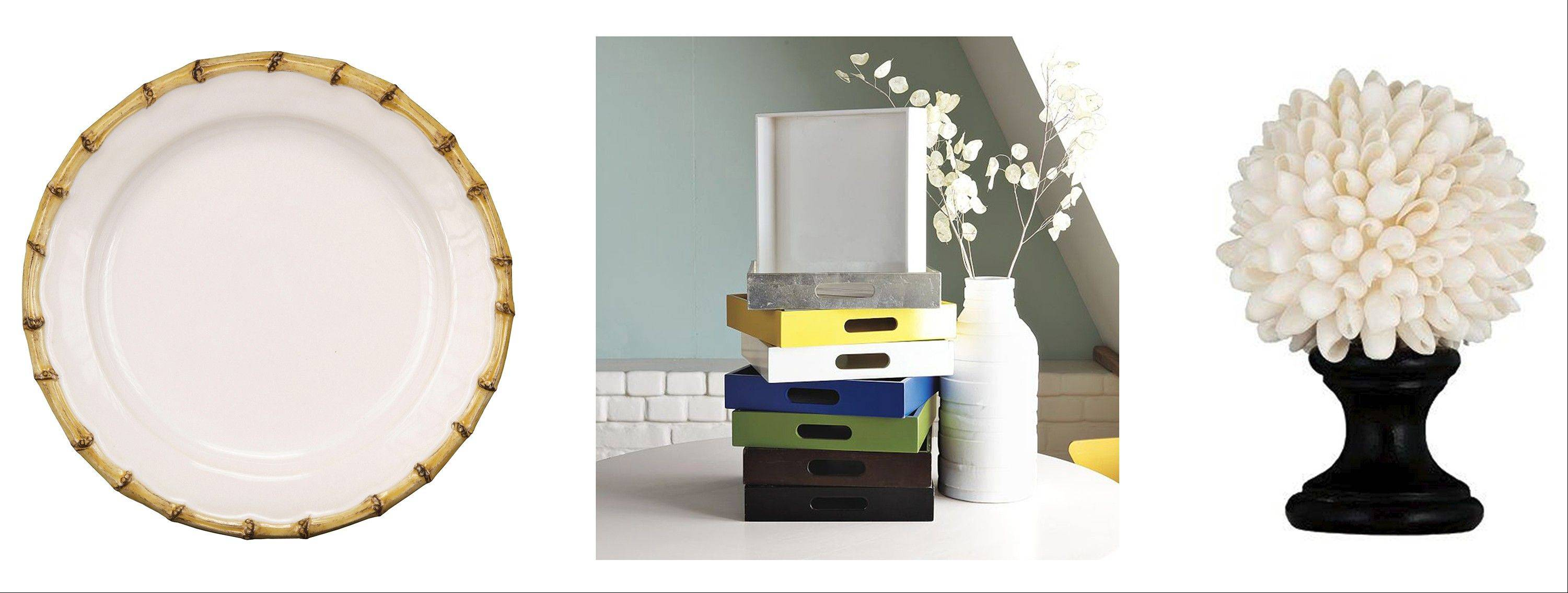 Left to right: Bamboo-edged dinnerware adds a whimsical touch; all beach houses should have an assortment of trays, such as these square lacquer trays from West Elm; the White Angel Wing shell finial provides an example of a surprising place to use shells: on a curtain rod.