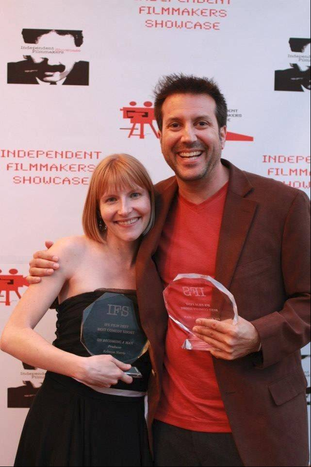 "Lake Zurich native Rebecca Norris and her filmmaking partner (and significant other) Kevin Resnick celebrate their win at the Independent Filmmakers Showcase for ""On Becoming a Man."""