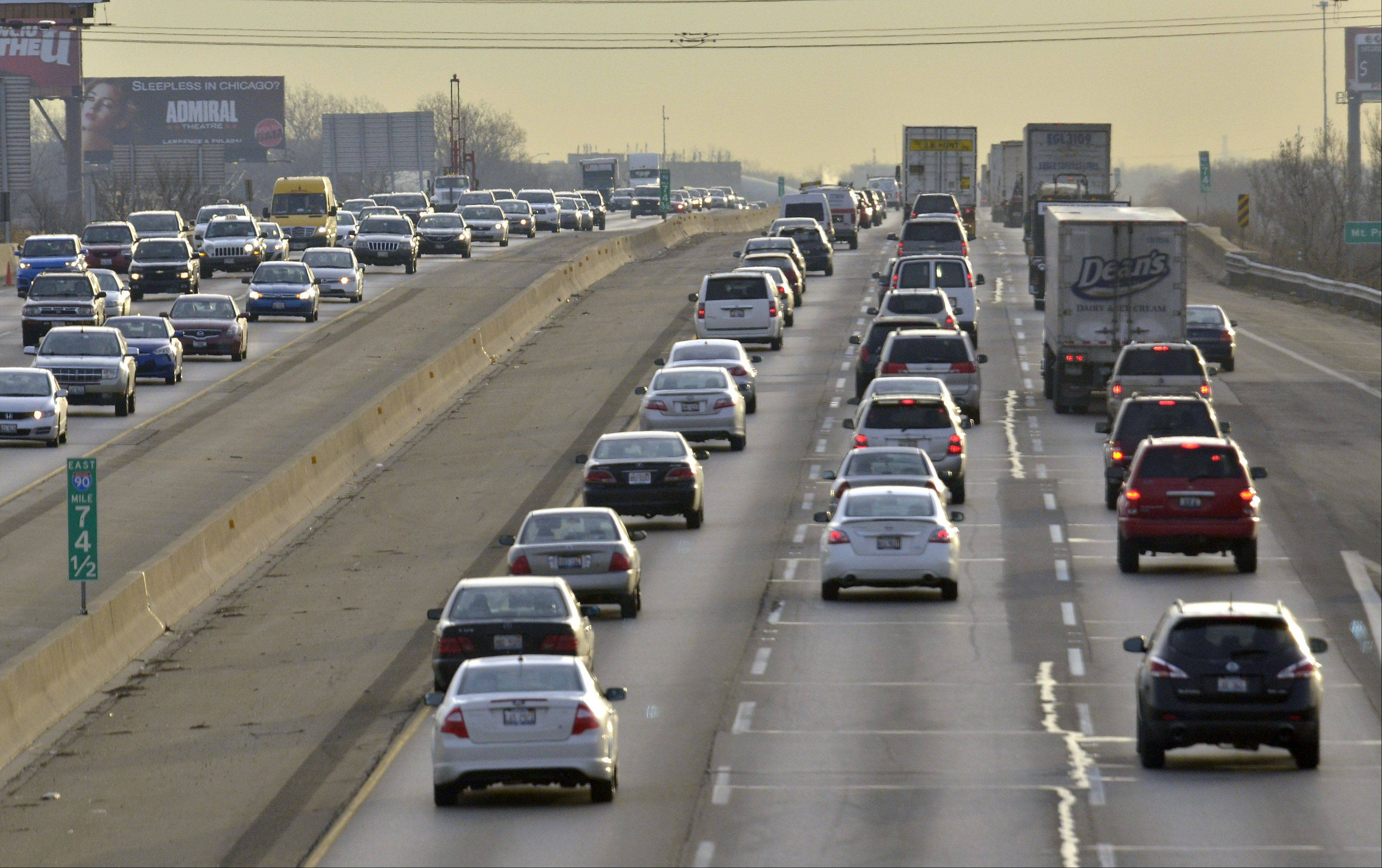 Traffic is heavy in both directions during the morning rush looking east on the Jane Addams Tollway east of the Des Plaines Oasis. A new federal report says Illinois highways are the fifth-busiest in the nation.