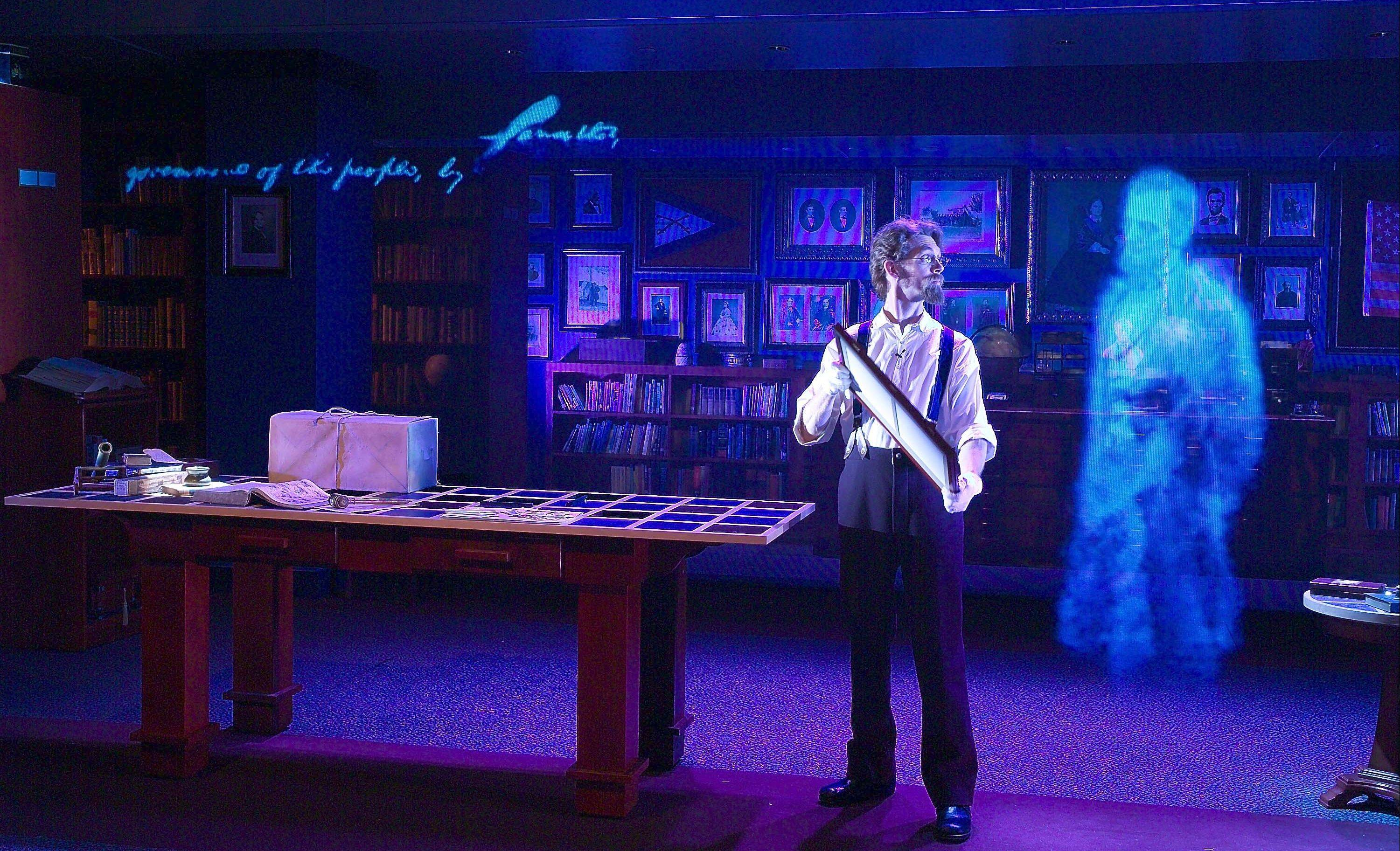 "In a holographic presentation of ""Ghosts of the Library,"" at the Abraham Lincoln Presidential Museum, a Lincoln historian talks about saving historical items. He is joined by ghosts of Civil War soldiers and even by Abraham Lincoln himself to reveal why history matters."