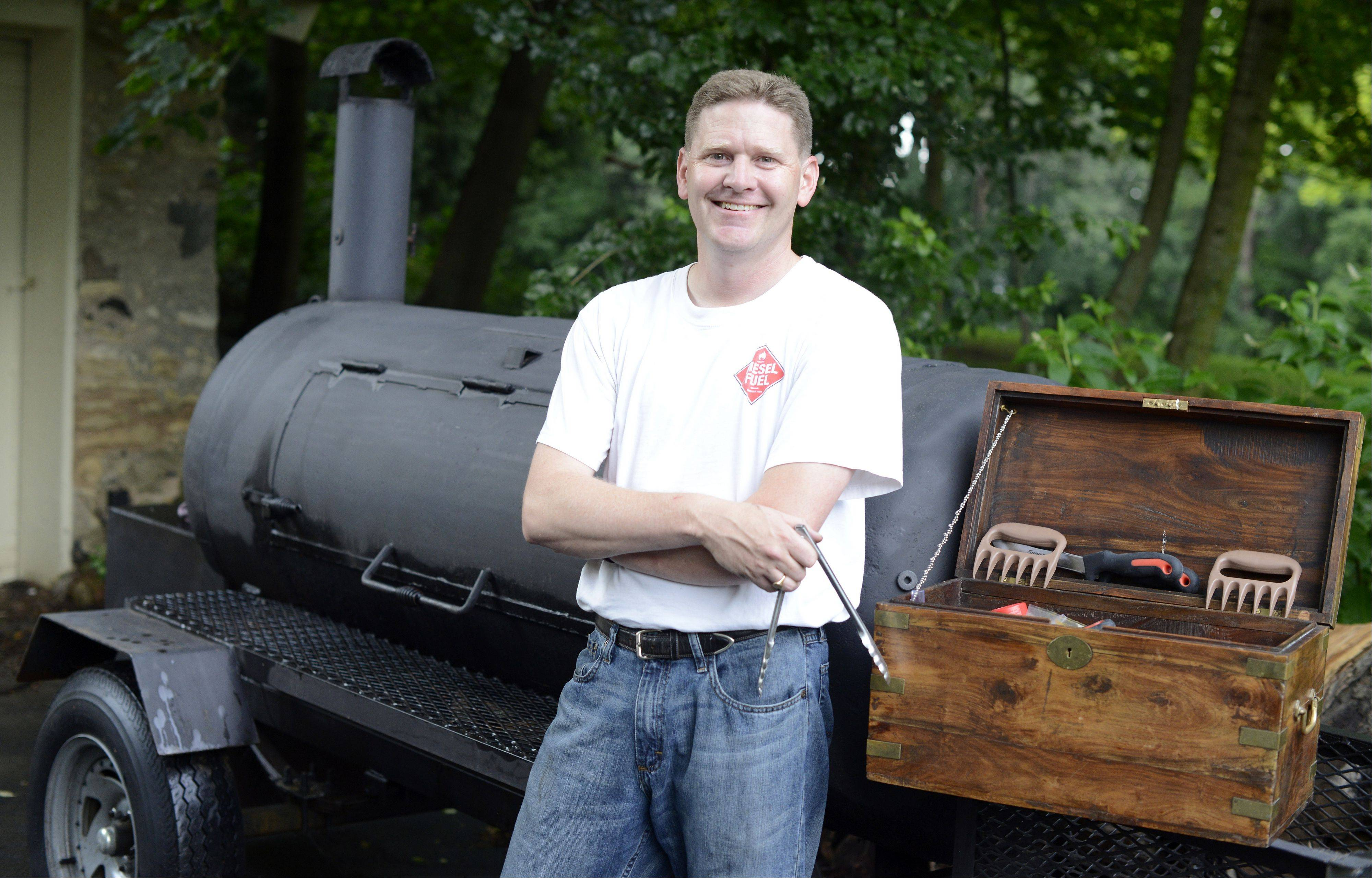David Werner started smoking on a Weber grill and quickly moved onto larger cookers, like this rig he uses for pig roasts.
