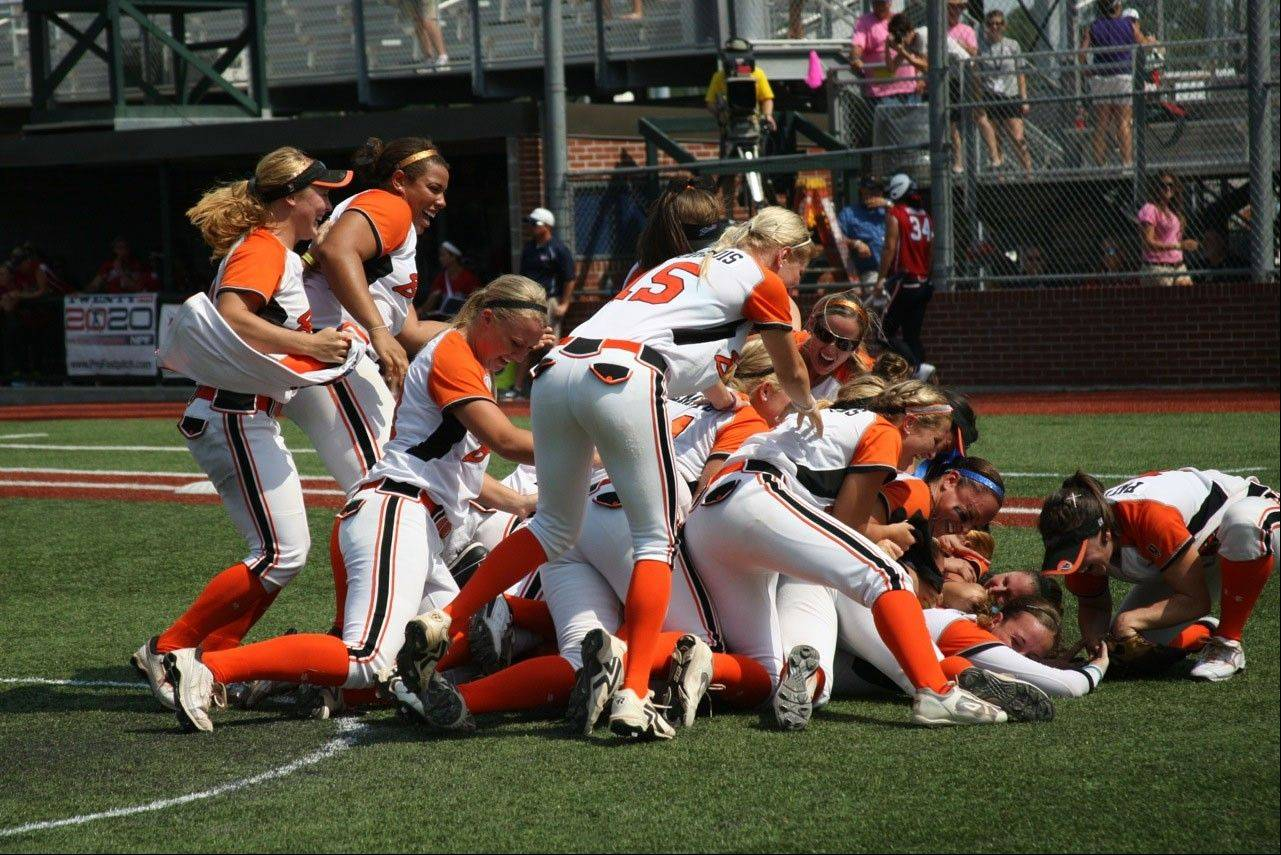 The Chicago Bandits celebrate winning the 2011 National Pro Fastpitch Championship Series, the last time the league had a champion. The 2012 championships were cut short because constant rain ruined the playing field.