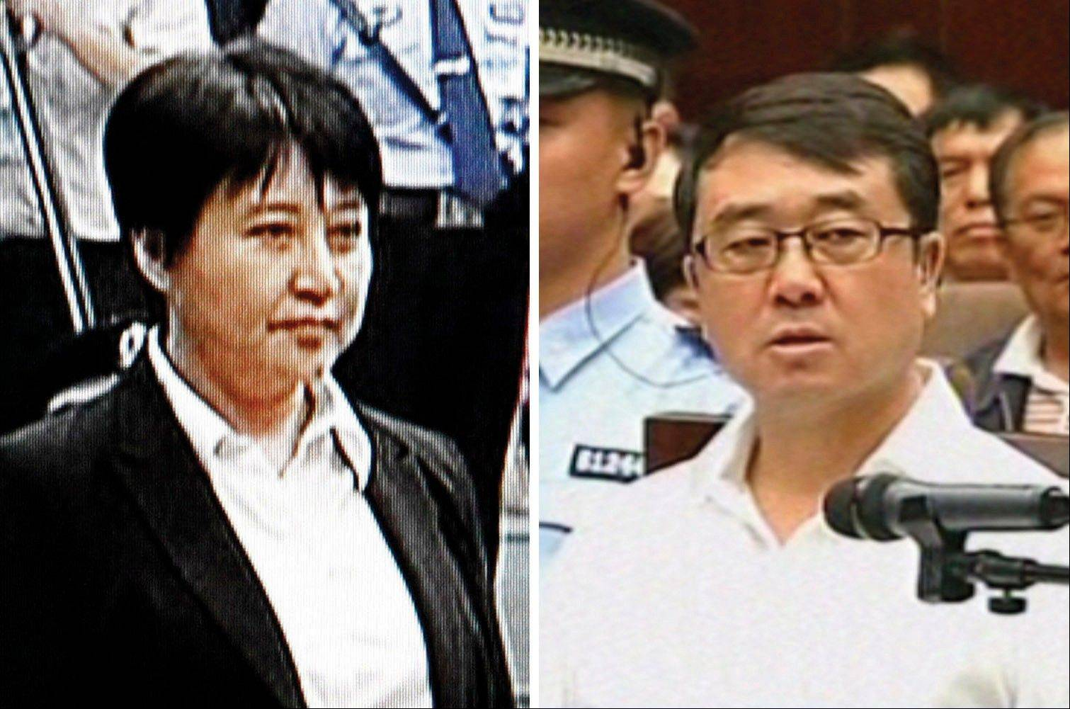 Gu Kailai, left, the wife of disgraced politician Bo Xilai, standing during her trial in the Hefei Intermediate People's Court in Hefei in eastern China's Anhui province and former Chongqing police chief Wang Lijun speaking in his trial at the Chengdu Intermediate People's Court in Chengdu, southwest China's Sichuan province.
