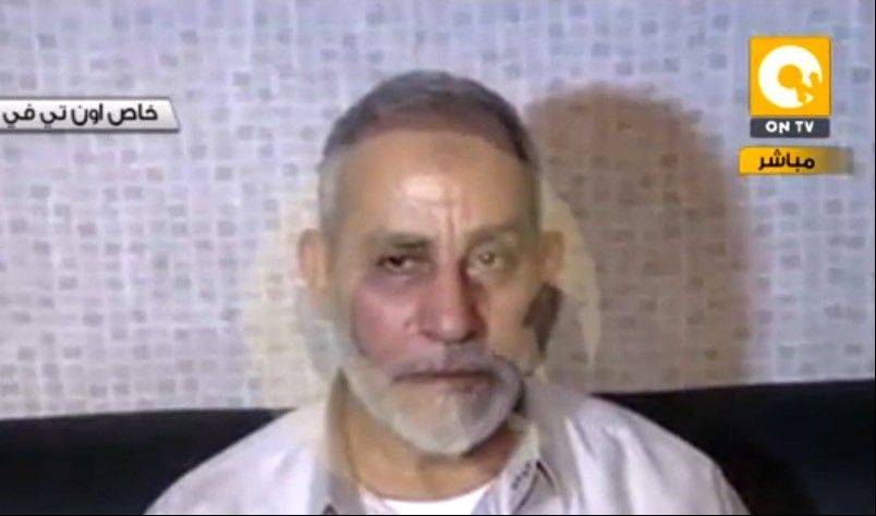 In this image taken from Egypt State TV, Mohammed Badie, the supreme leader of the Muslim Brotherhood, is seen after being detained by Egyptian security in Cairo, Egypt, Tuesday, Aug. 20, 2013.
