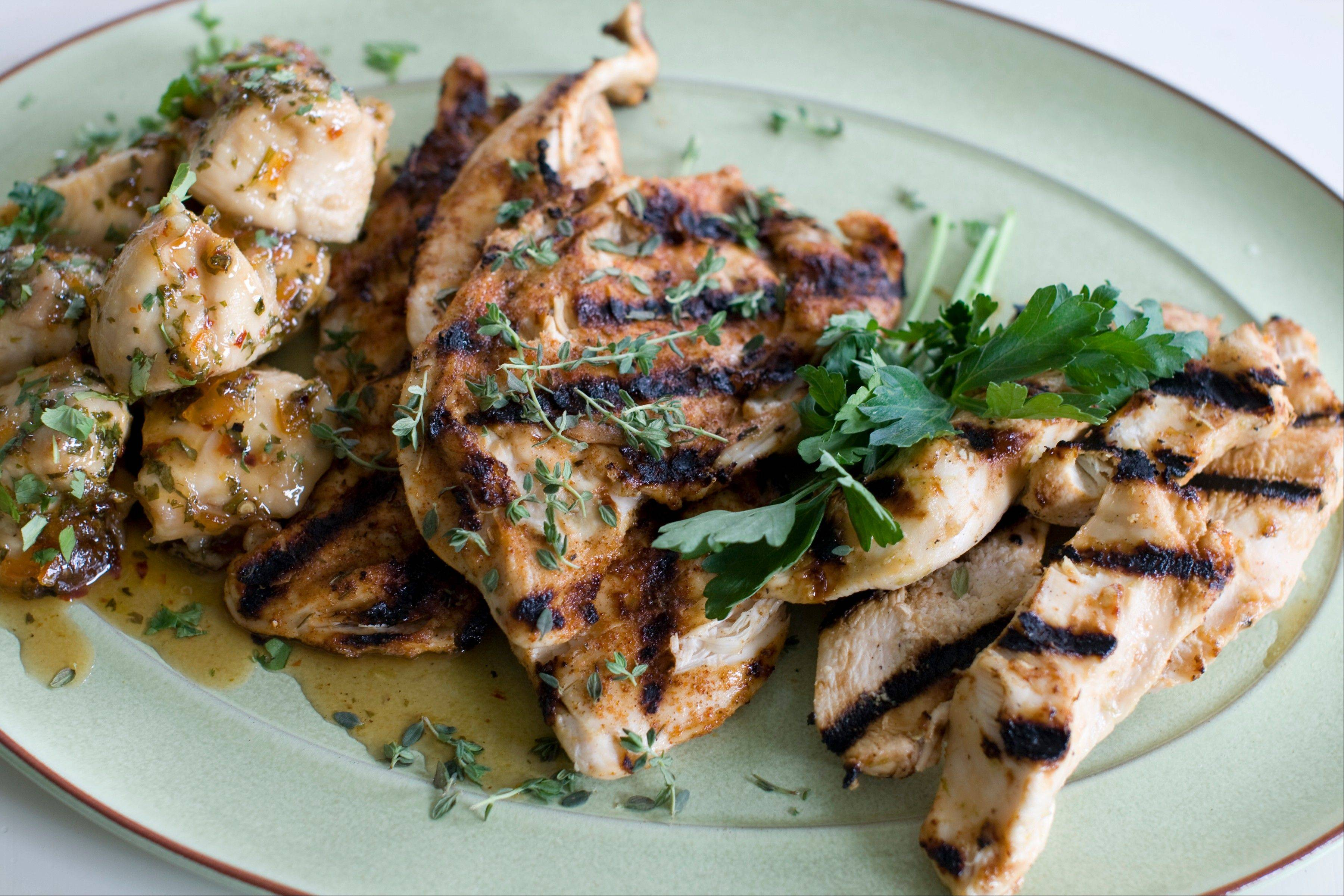 Perk up weeknight chicken breasts with a variety of preparations including, from left, a sticky orange-cilantro smothered chicken recipe, a spiced-rubbed chicken breast recipe and a recipe for miso-lime marinated chicken strips.