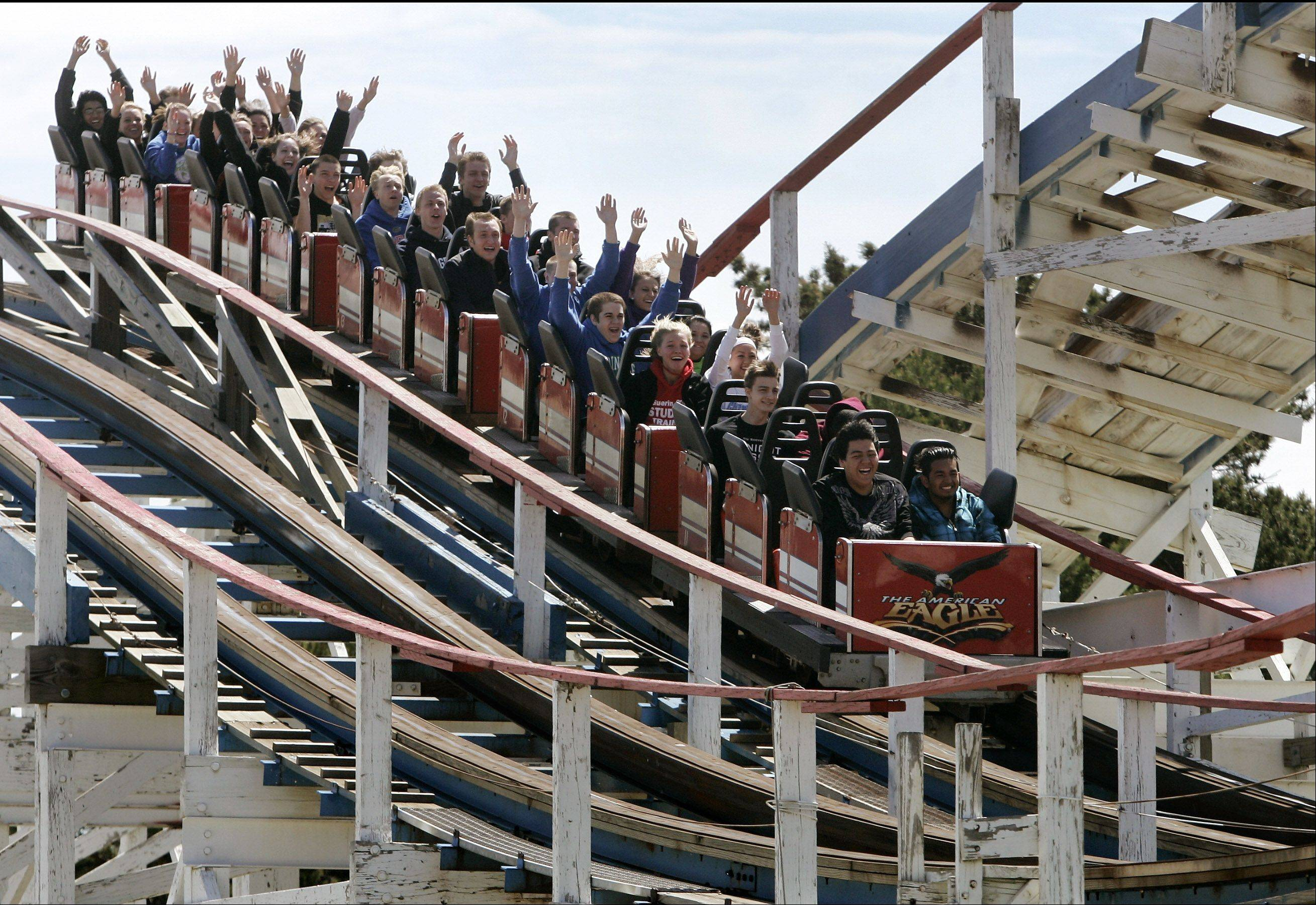 The American Eagle and Viper, not pictured, may receive competition on the wooden roller coaster front at Six Flags Great America in Gurnee. Village officials say the park has a plan for a new wooden coaster.