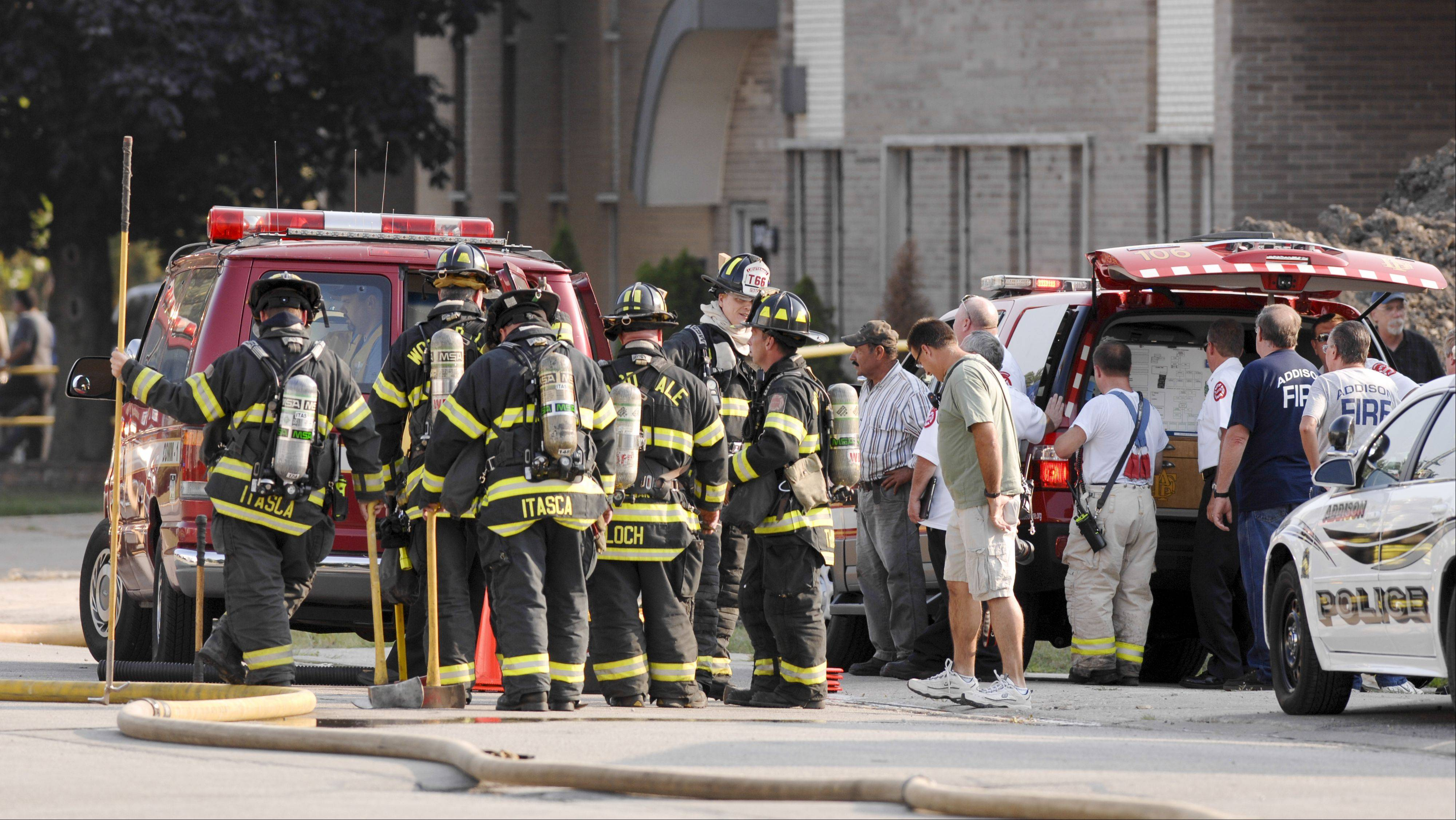 Firefighters responded to a blaze at 1045 Westgate St. in Addison about 4:30 p.m. Wednesday.