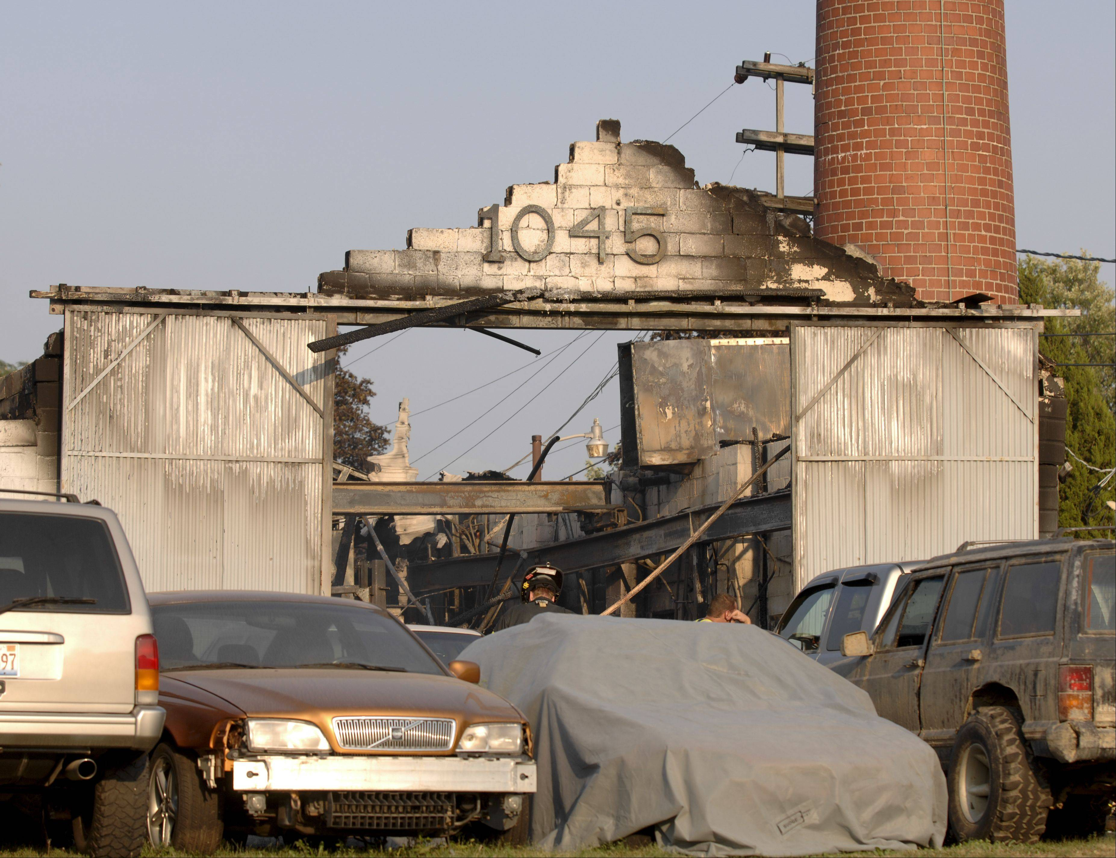 One civilian was injured in Wednesday's blaze in an industrial building at 1045 Westgate St. in Addison.