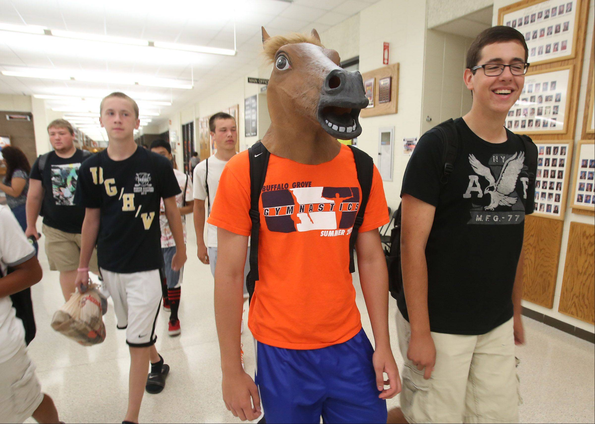 Senior Milan Davitkov showed up to BGHS wearing a horse head. (He was asked to remove it before going into class).